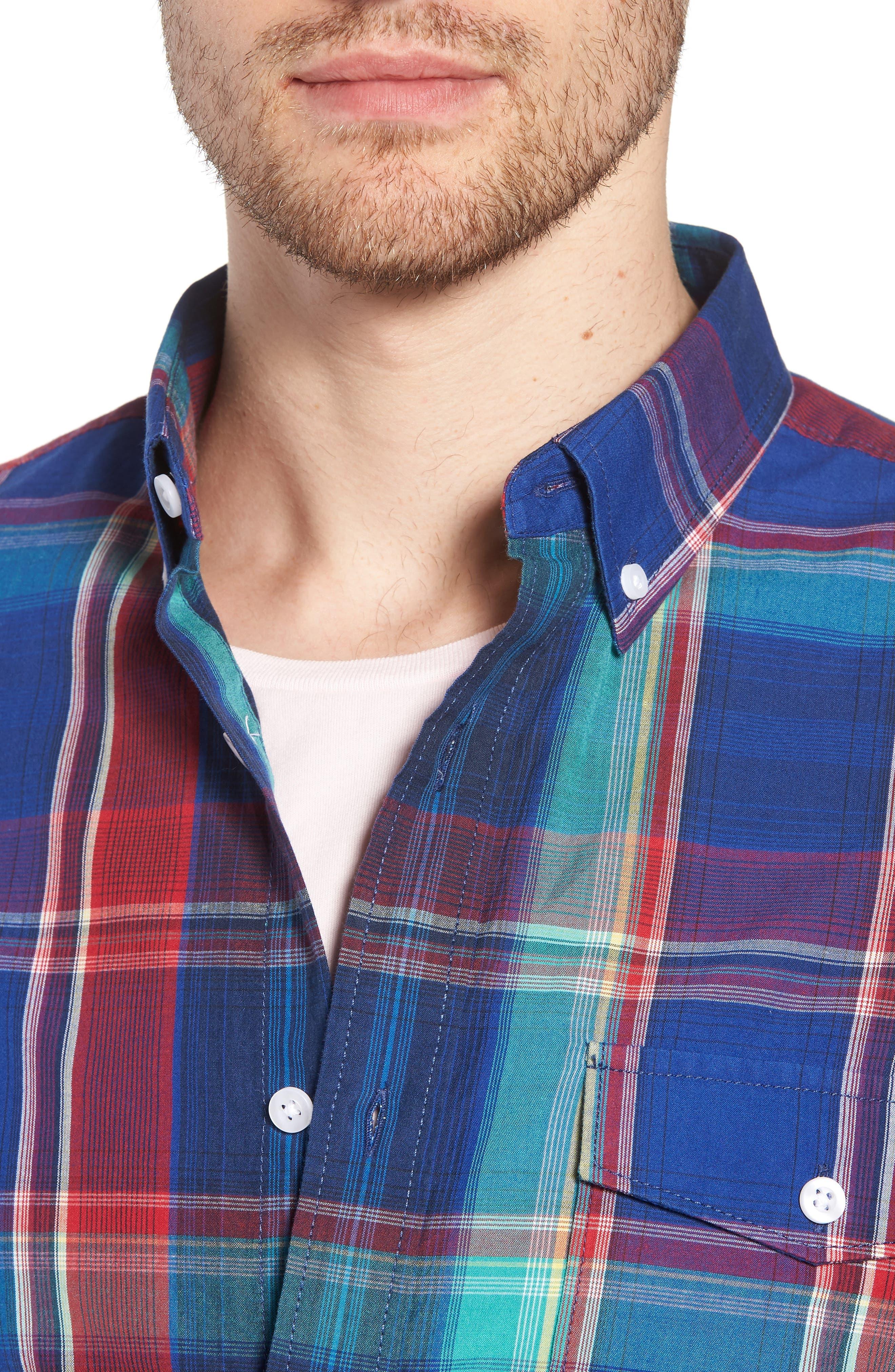 Ivy Trim Fit Madras Plaid Sport Shirt,                             Alternate thumbnail 2, color,                             Navy Red Fine Line Plaid