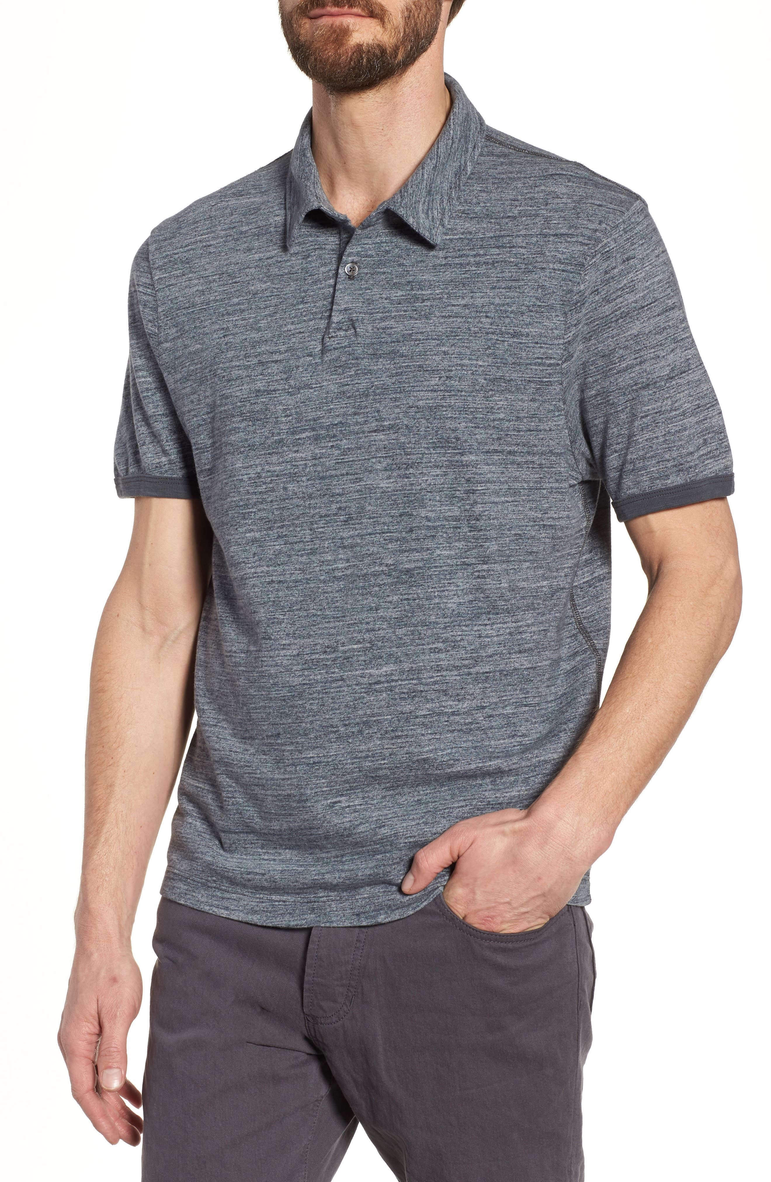 Regular Fit Top Dyed Polo,                             Main thumbnail 1, color,                             Grey