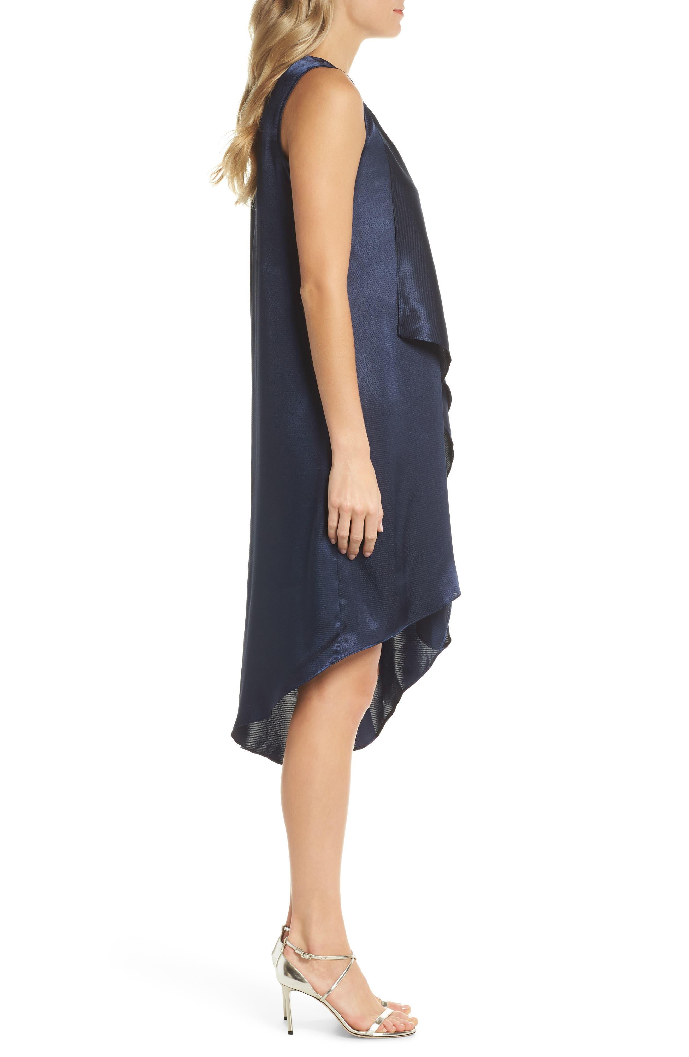 Asymmetrical Sleeveless Trapeze Dress,                             Alternate thumbnail 3, color,                             Blue Moon