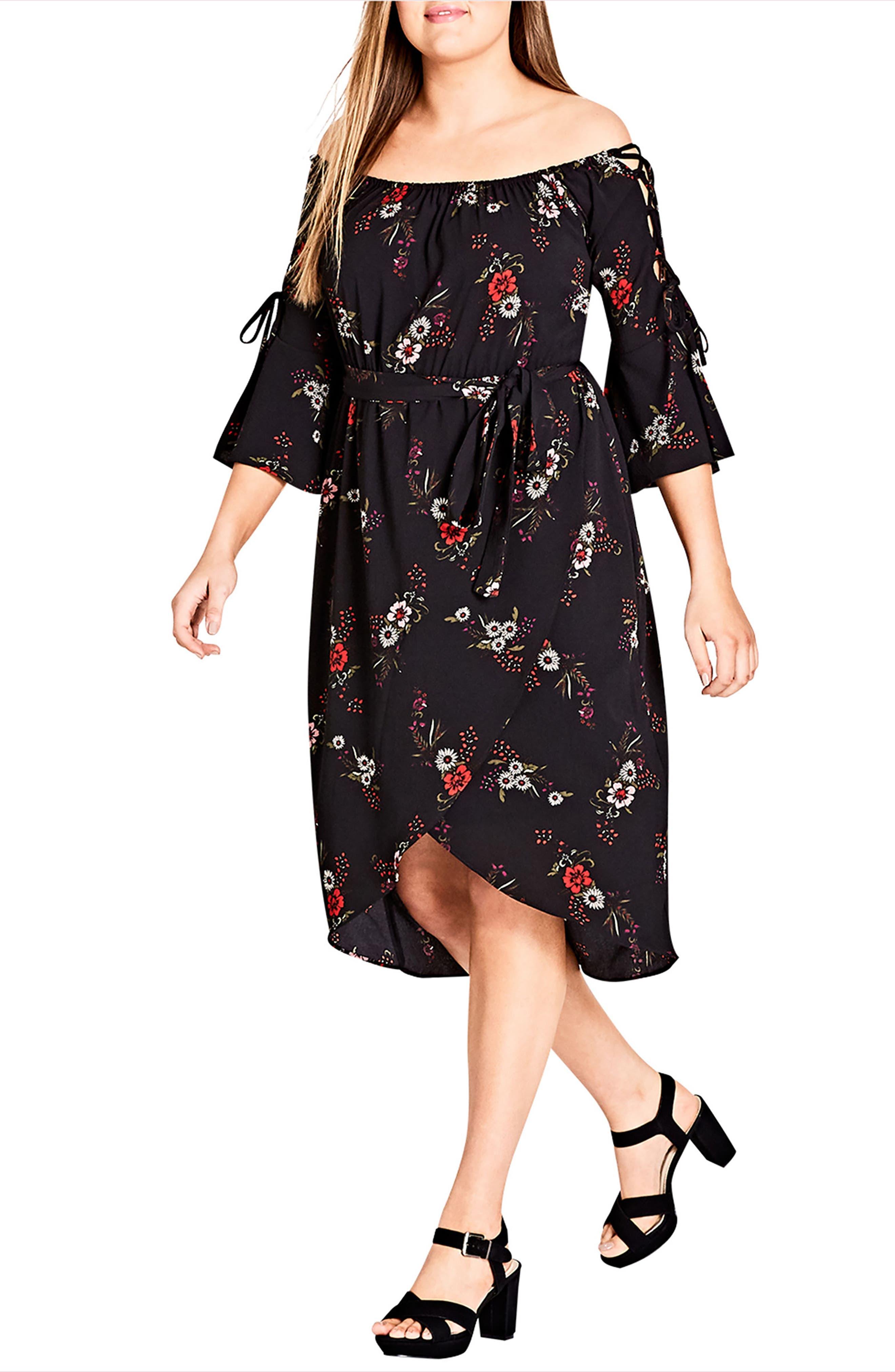 Off the Shoulder Midi Dress,                         Main,                         color, Skye Floral