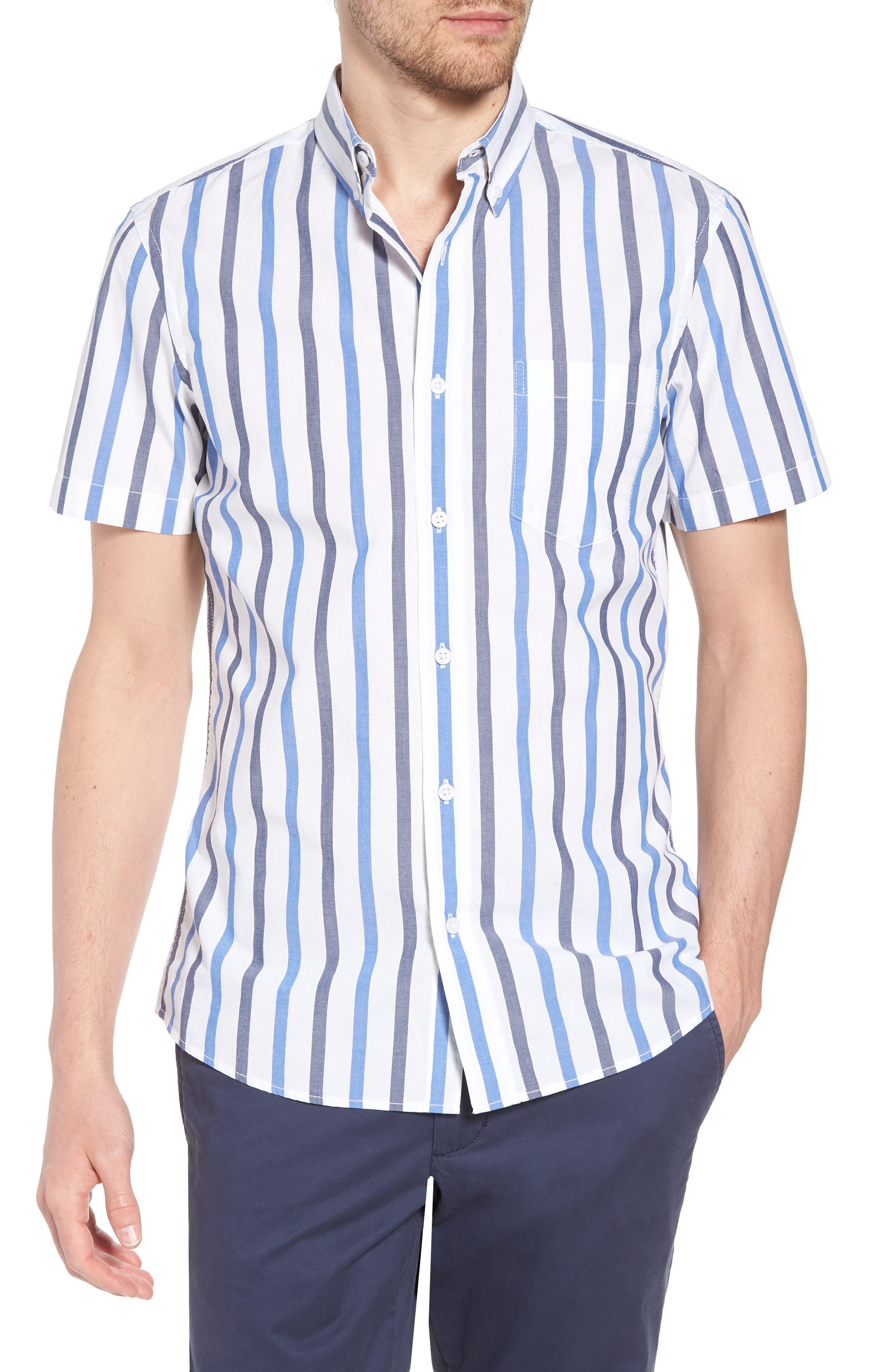 Trim Fit Stripe Stretch Sport Shirt,                         Main,                         color, White Blue Stripe