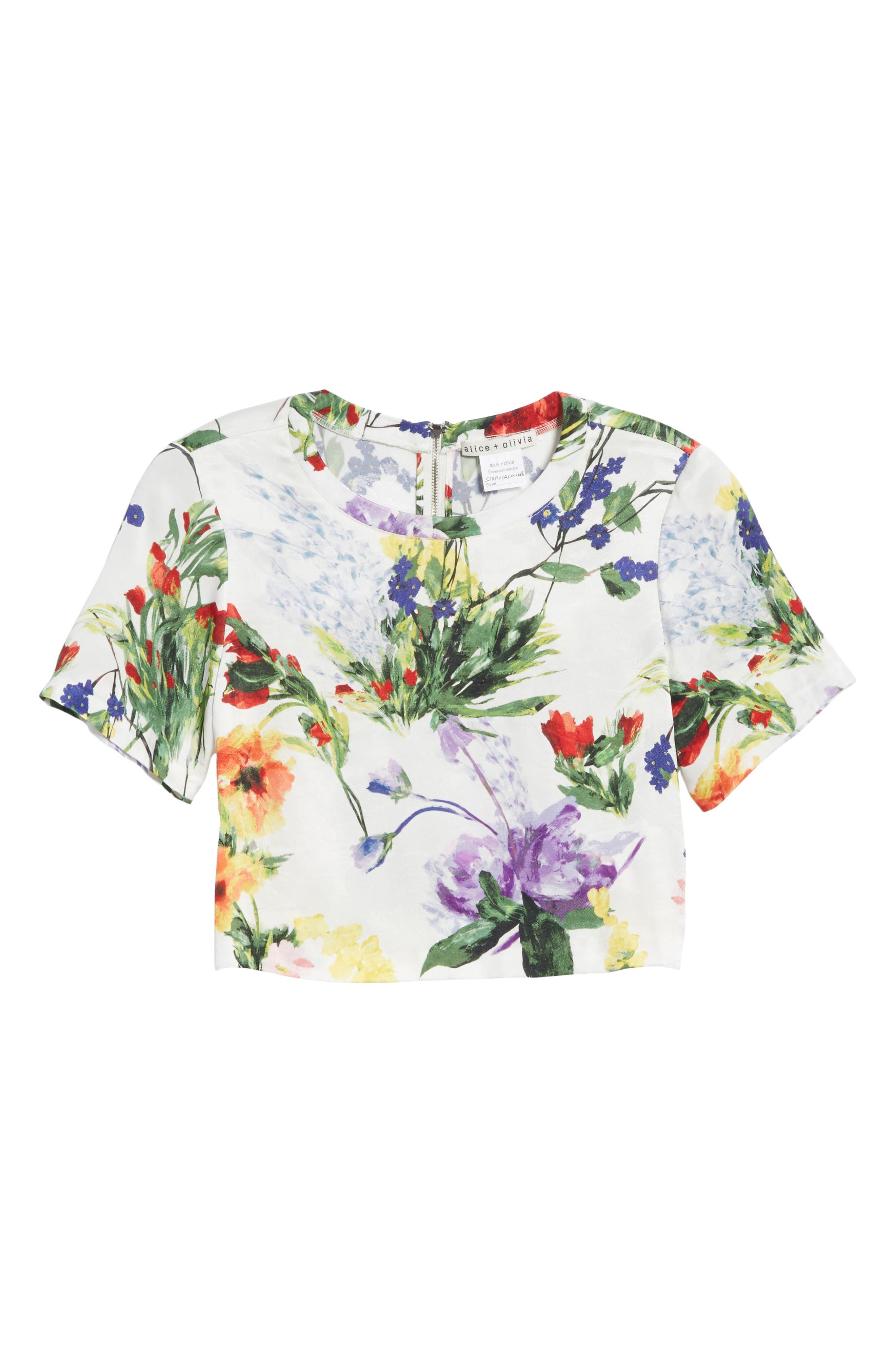 Hellen Boxy Floral Print Tee,                             Alternate thumbnail 6, color,                             Wildflower