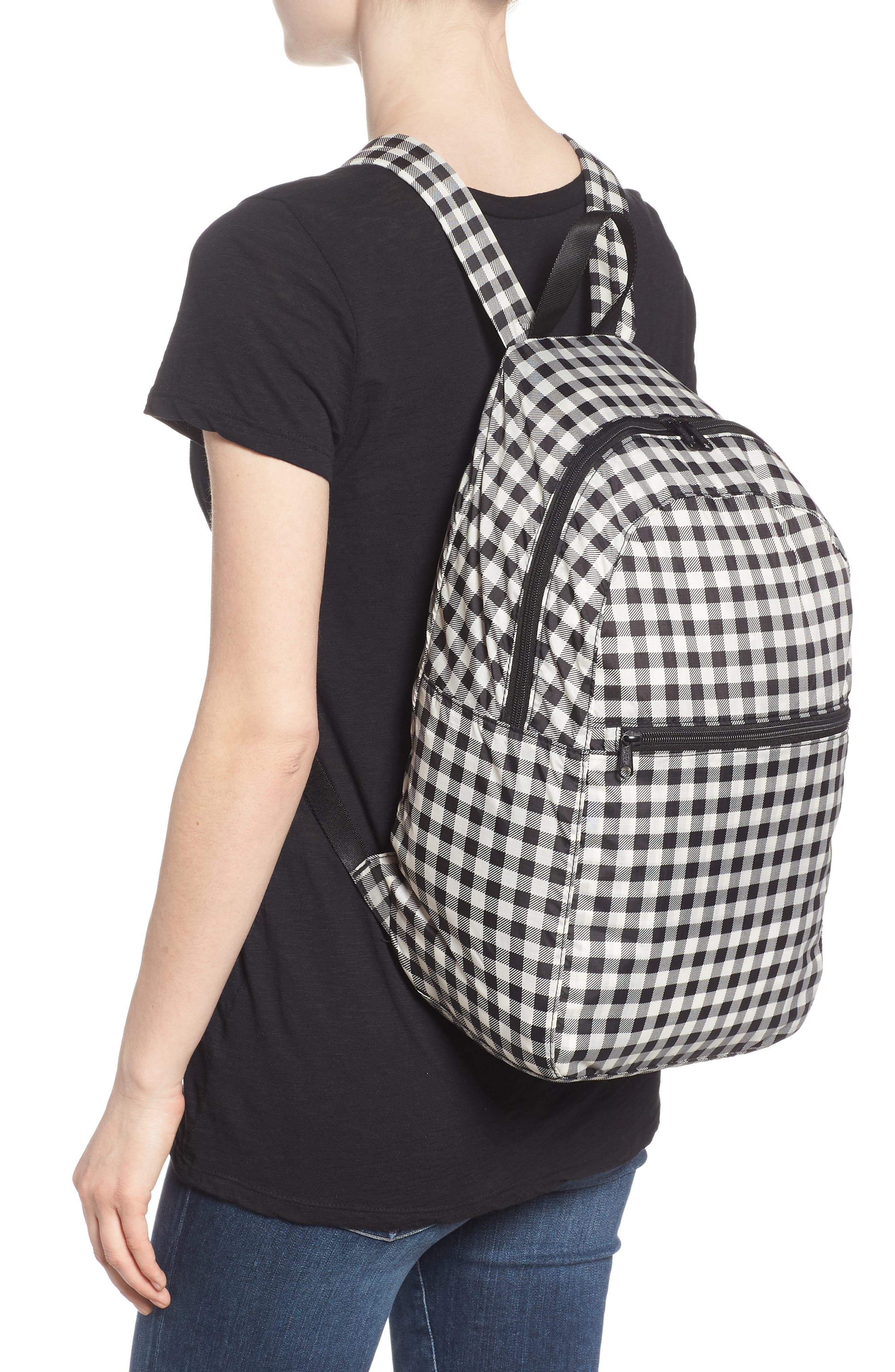 Ripstop Nylon Backpack,                             Alternate thumbnail 2, color,                             Black Gingham