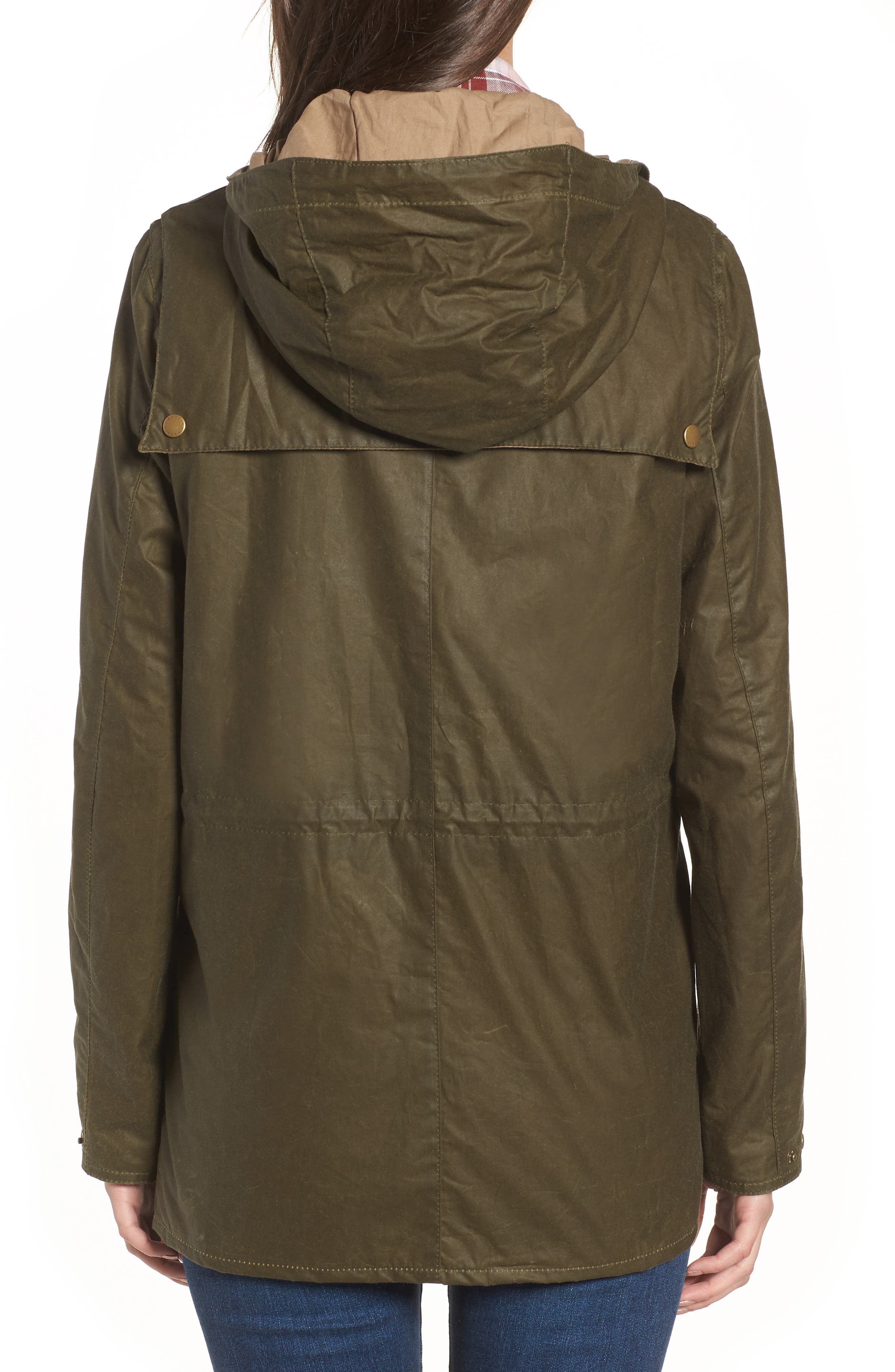 Durham Lightweight Wax Cotton Jacket,                             Alternate thumbnail 3, color,                             Archive Olive
