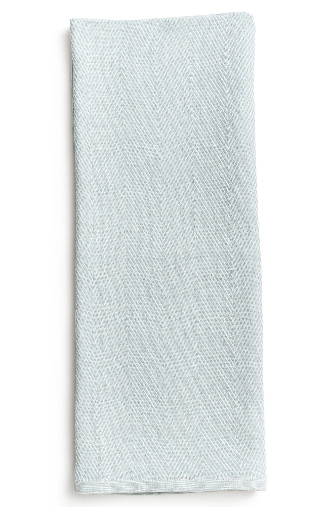 Herringbone Organic Cotton Blanket,                         Main,                         color, Blue