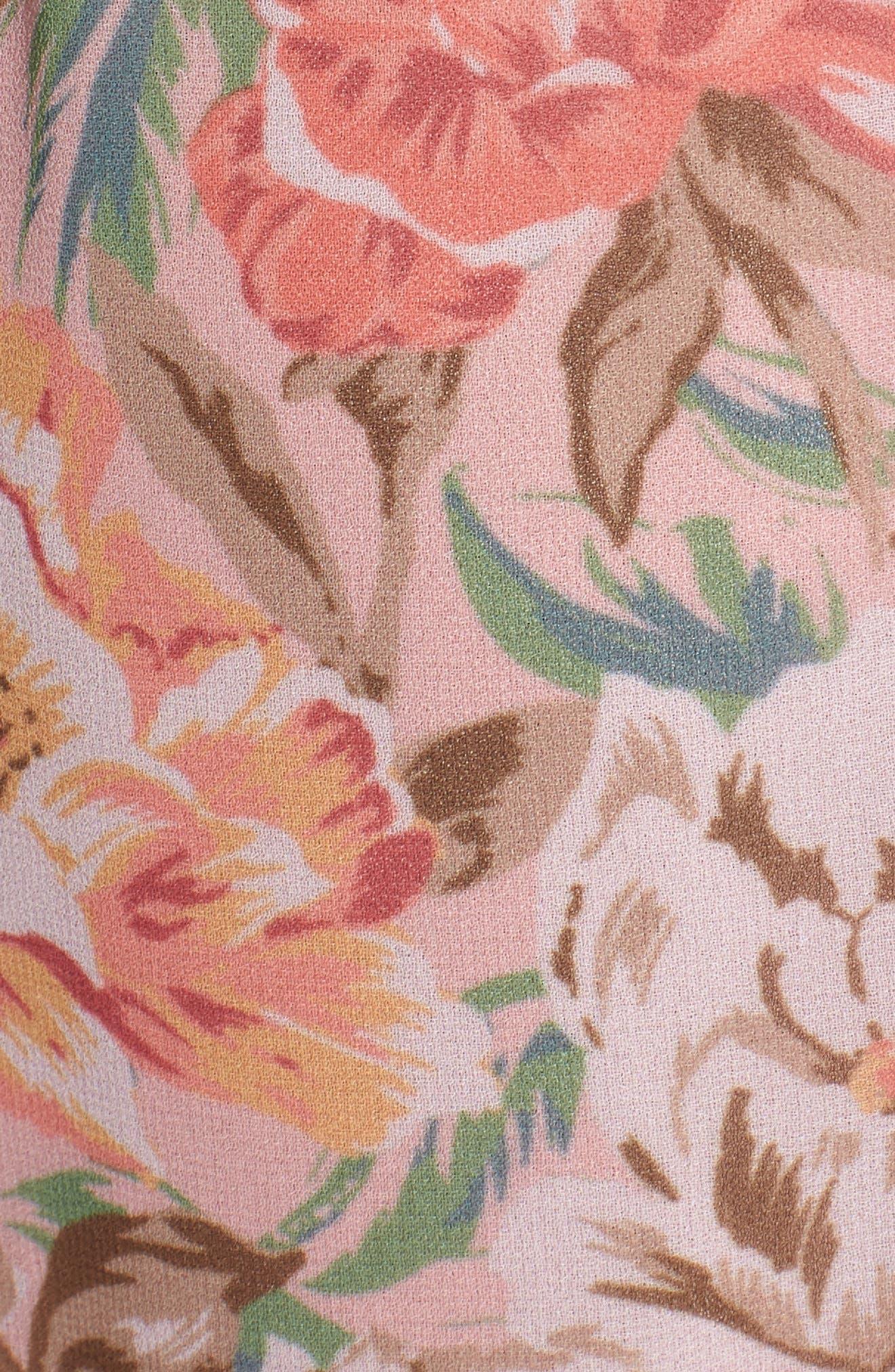 Valerie Blouson Midi Dress,                             Alternate thumbnail 7, color,                             Coral Floral