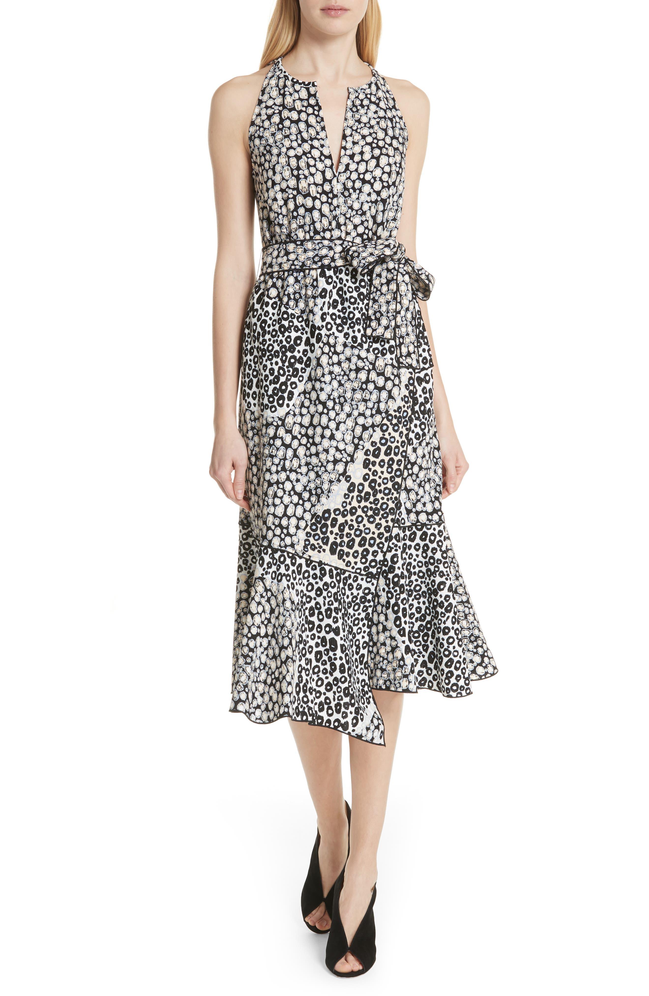 Asymmetrical Faux Wrap Dress,                             Main thumbnail 1, color,                             Sandstone