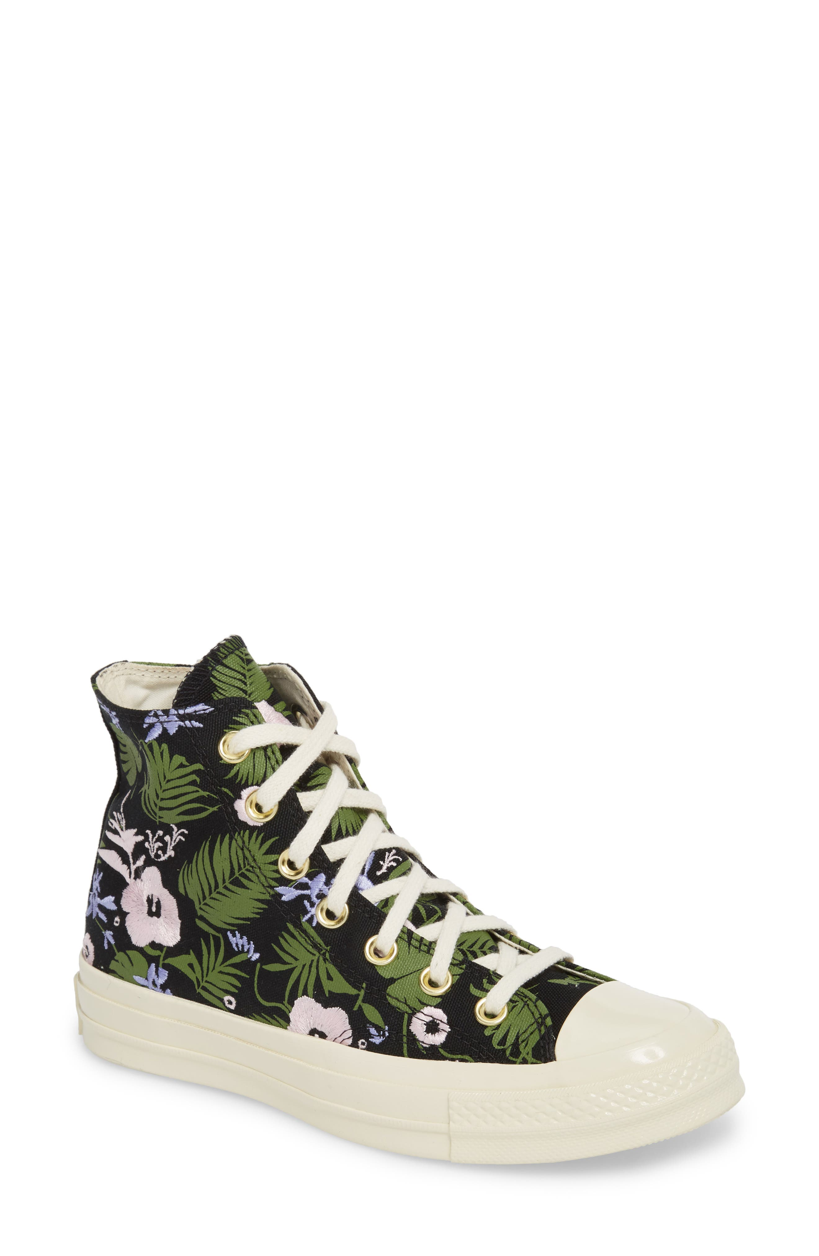Chuck Taylor<sup>®</sup> All Star<sup>®</sup> 70 Palm Print High Top Sneaker,                             Main thumbnail 1, color,                             Black/ Cherry