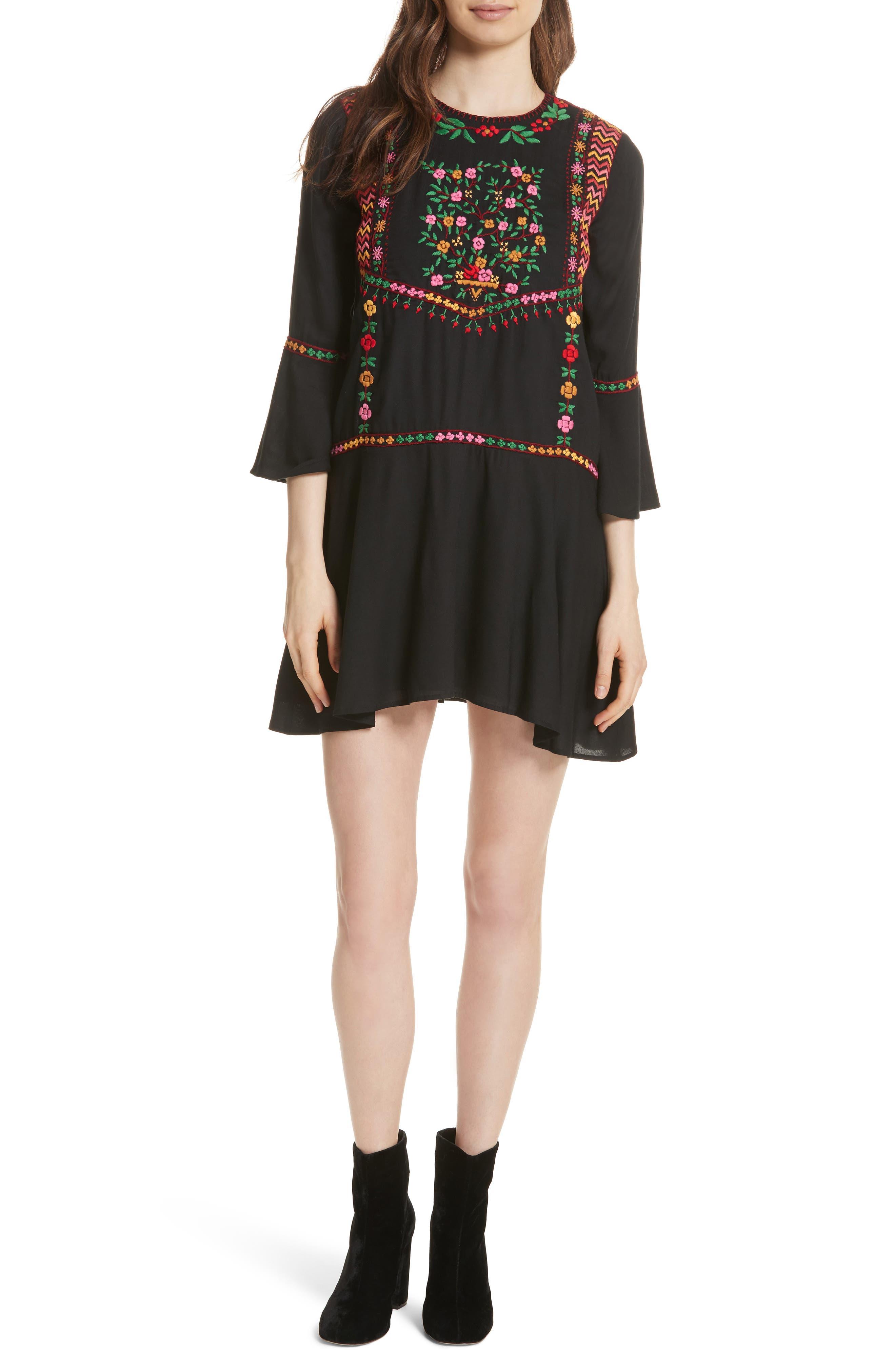 Gosinda Embroidered Dress,                             Main thumbnail 1, color,                             Caviar/ Multi