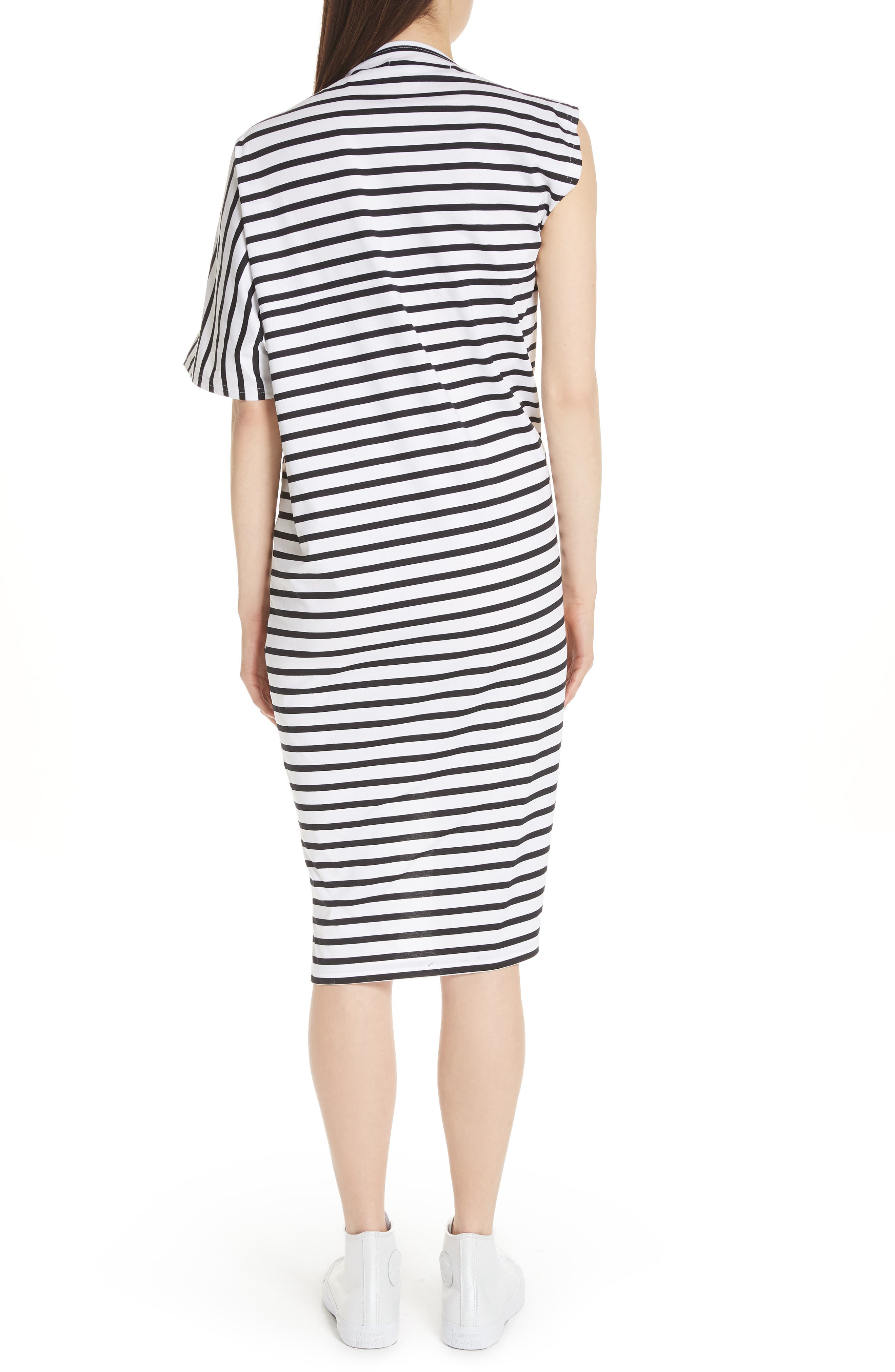 Asymmetrical Stripe Dress,                             Alternate thumbnail 2, color,                             White/ Black