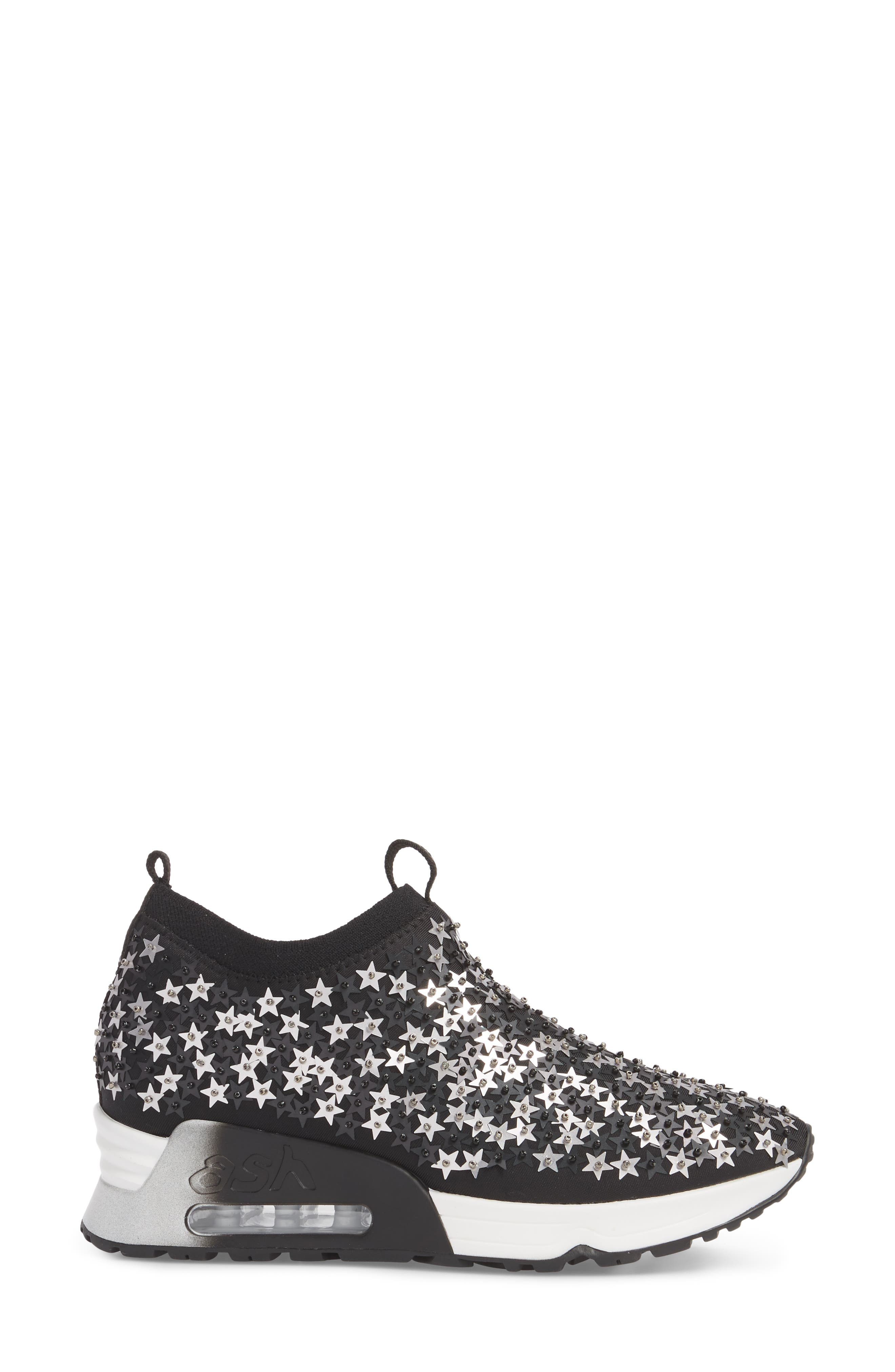 Lighting Star Platform Sock Sneaker,                             Alternate thumbnail 3, color,                             Black/ Silver