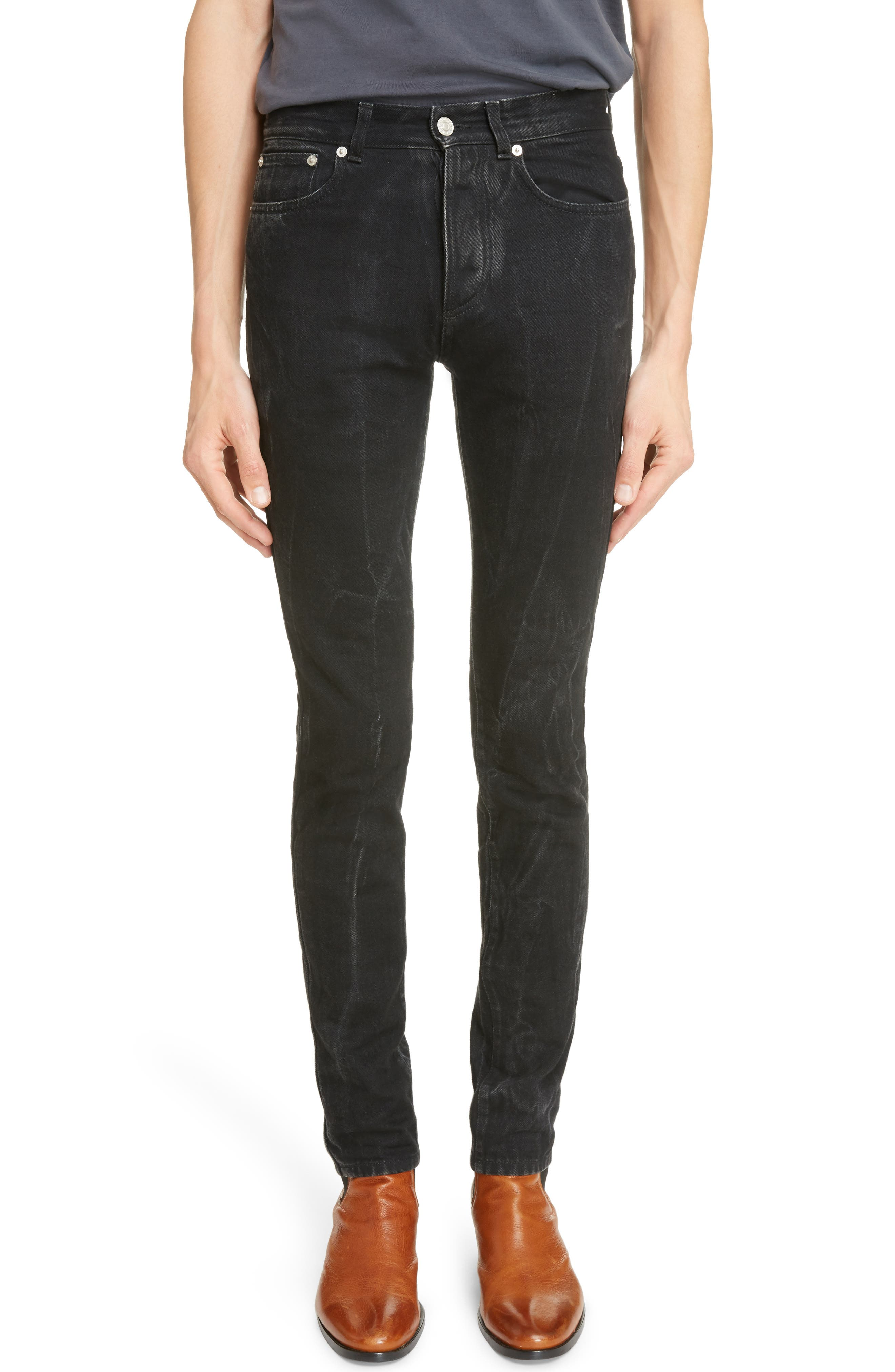 Slim Fit Vintage Wash Jeans,                         Main,                         color, Black/ Grey