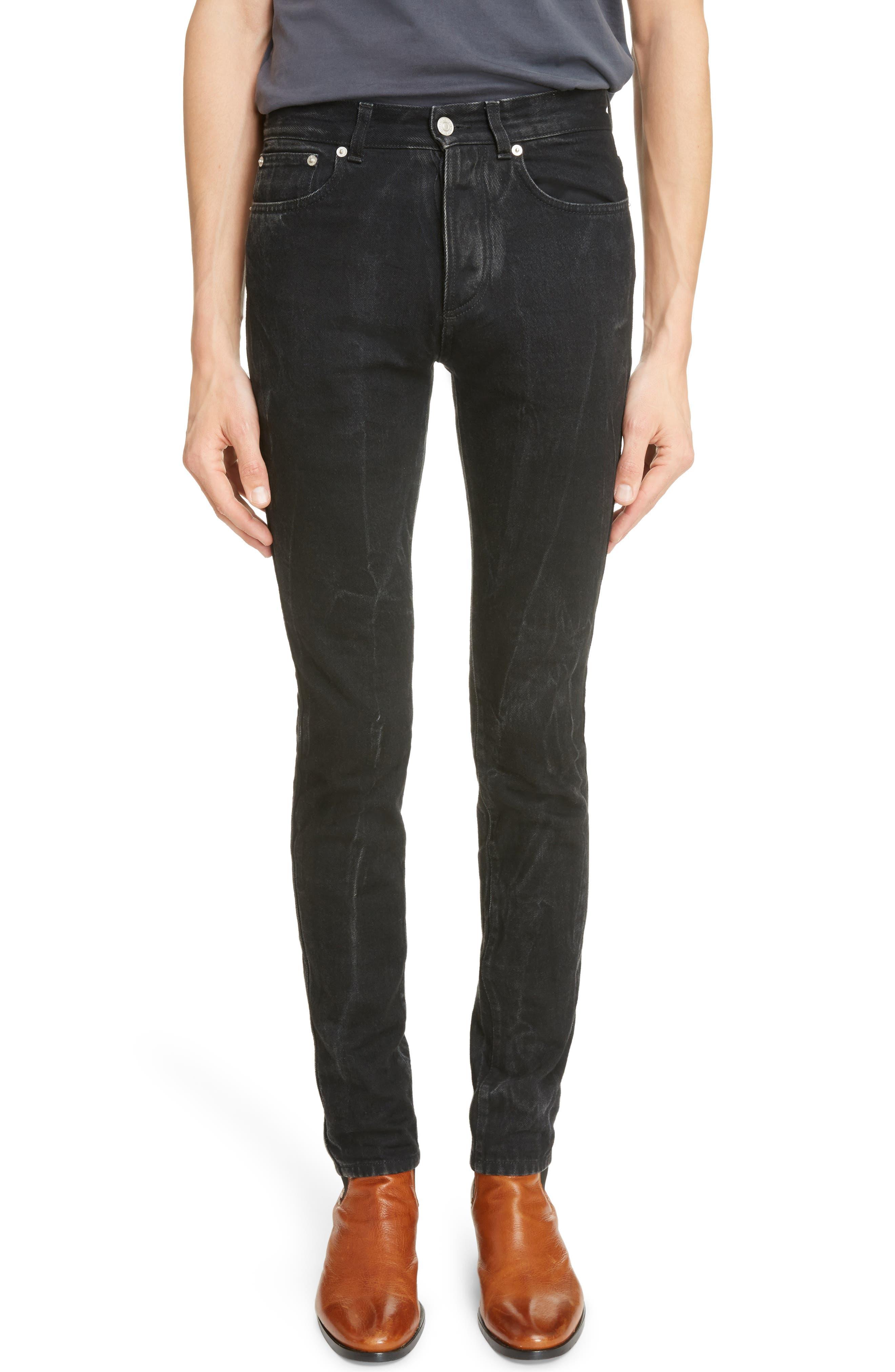 Slim Fit Vintage Wash Jeans,                         Main,                         color, Black/ Grey
