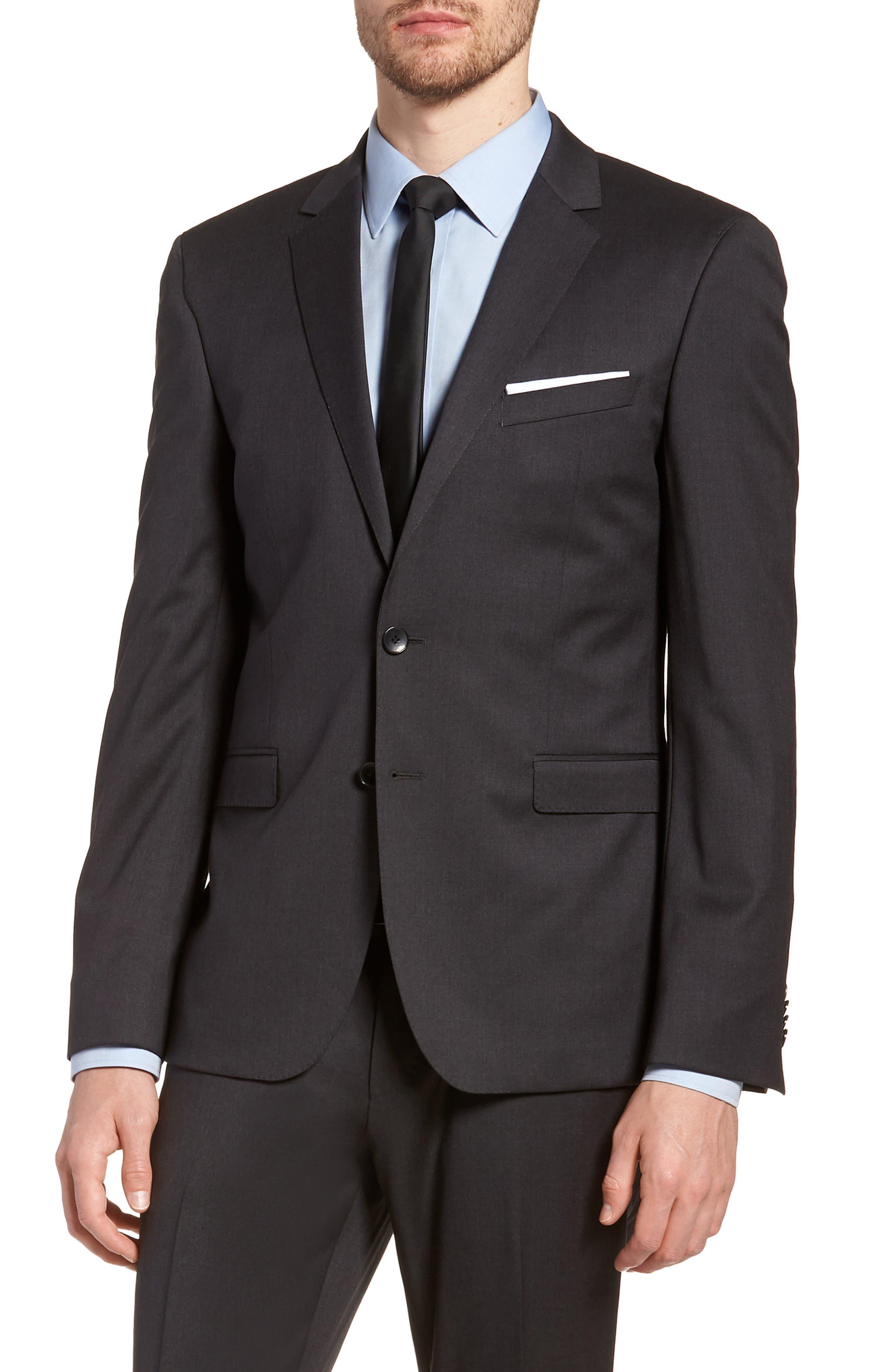 'Ryan/Win' Extra Trim Fit Solid Wool Suit,                             Alternate thumbnail 7, color,                             Dark Grey