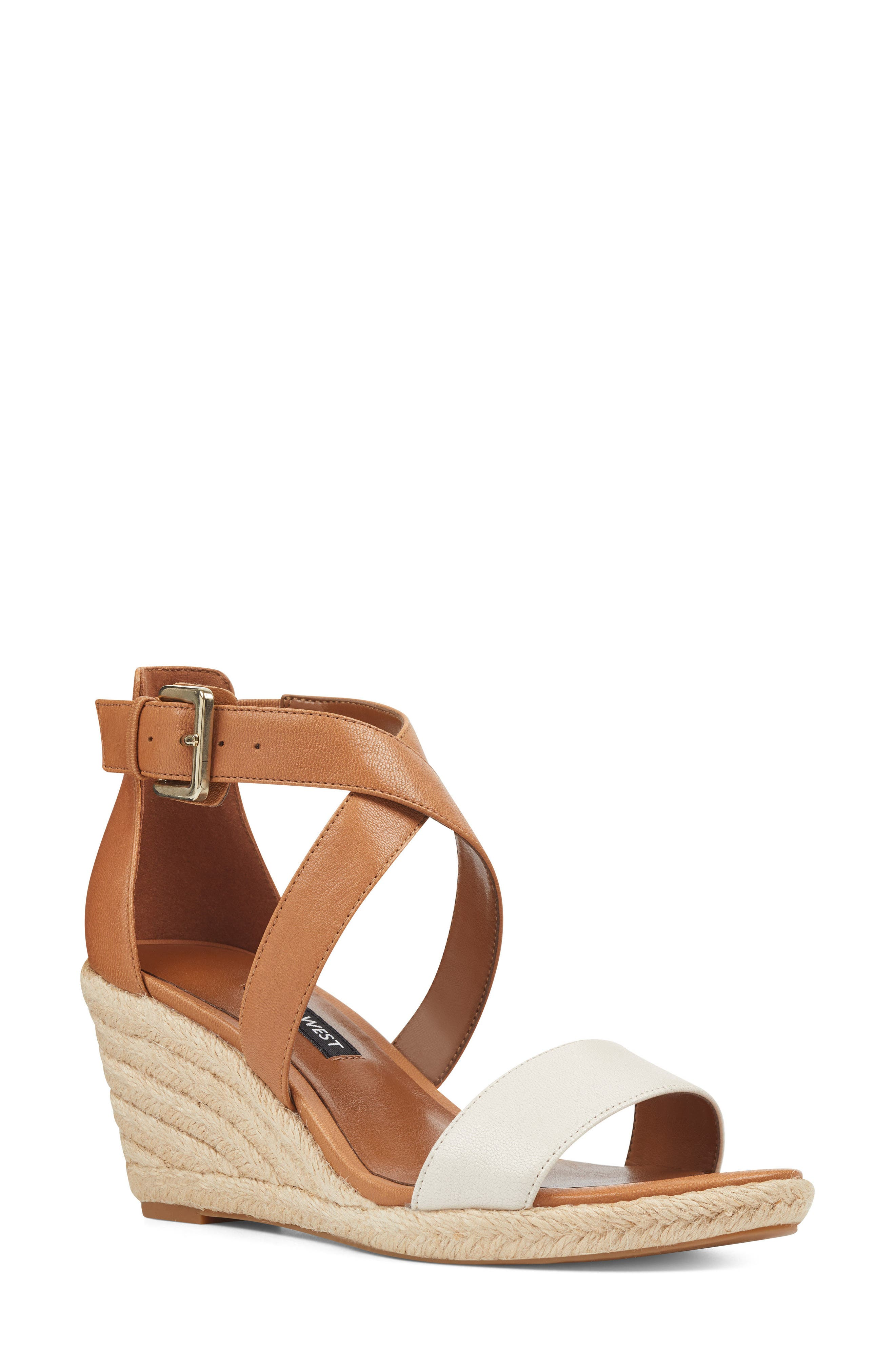 Jorjapeach Espadrille Wedge Sandal,                             Main thumbnail 1, color,                             White Leather