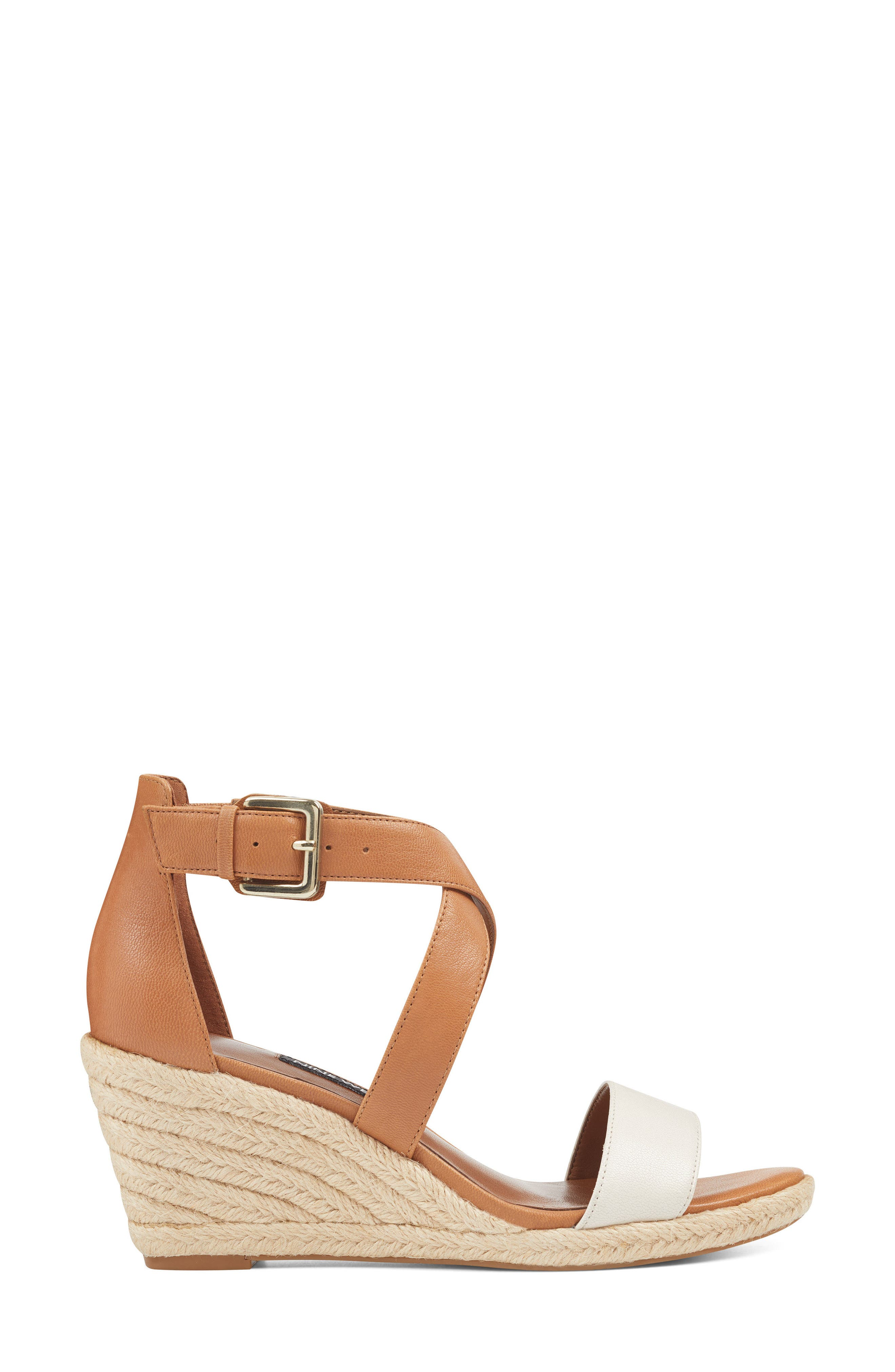 Jorjapeach Espadrille Wedge Sandal,                             Alternate thumbnail 3, color,                             White Leather