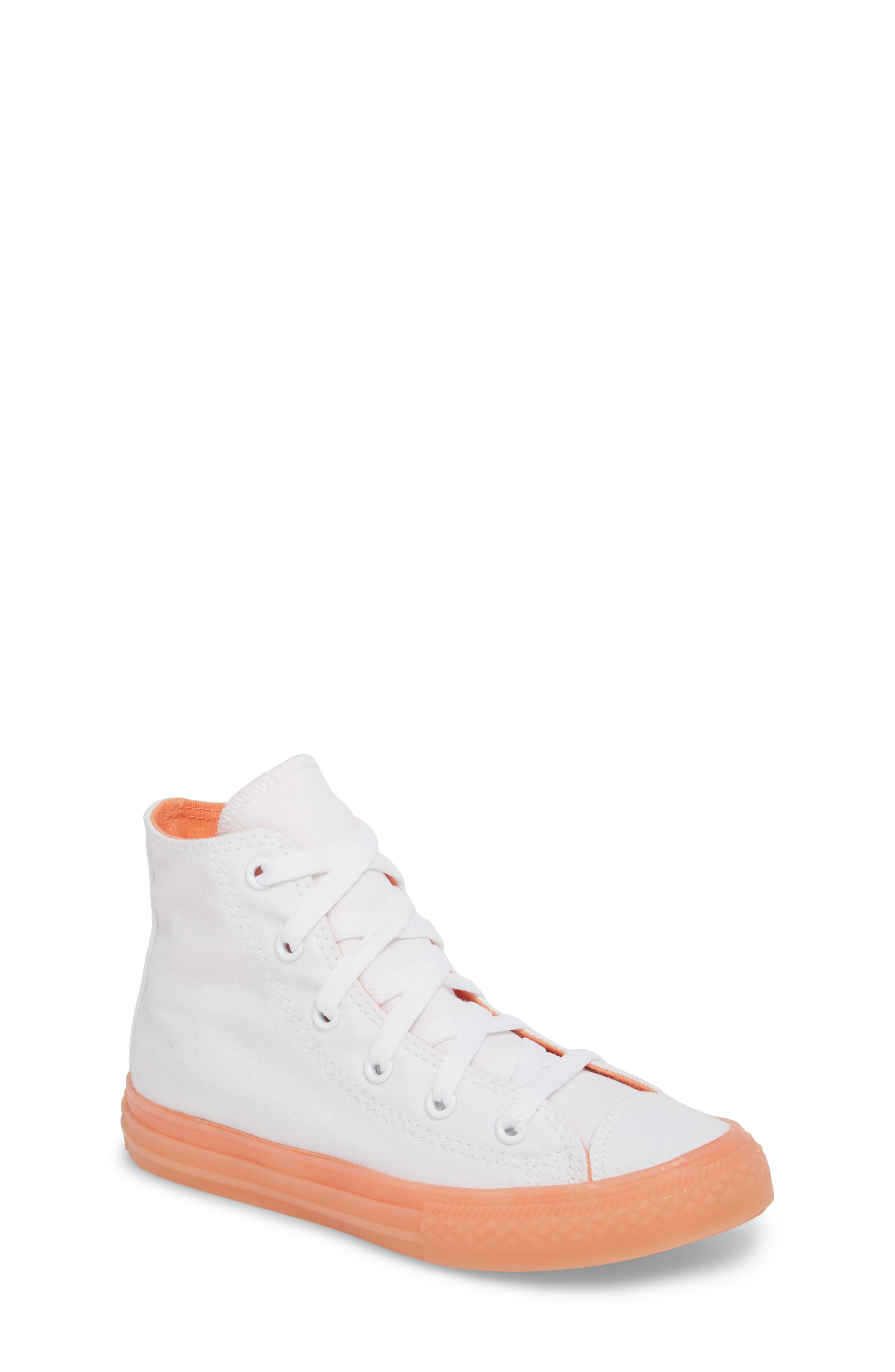 Chuck Taylor<sup>®</sup> All Star<sup>®</sup> Jelly High Top Sneaker,                             Main thumbnail 1, color,                             Orange