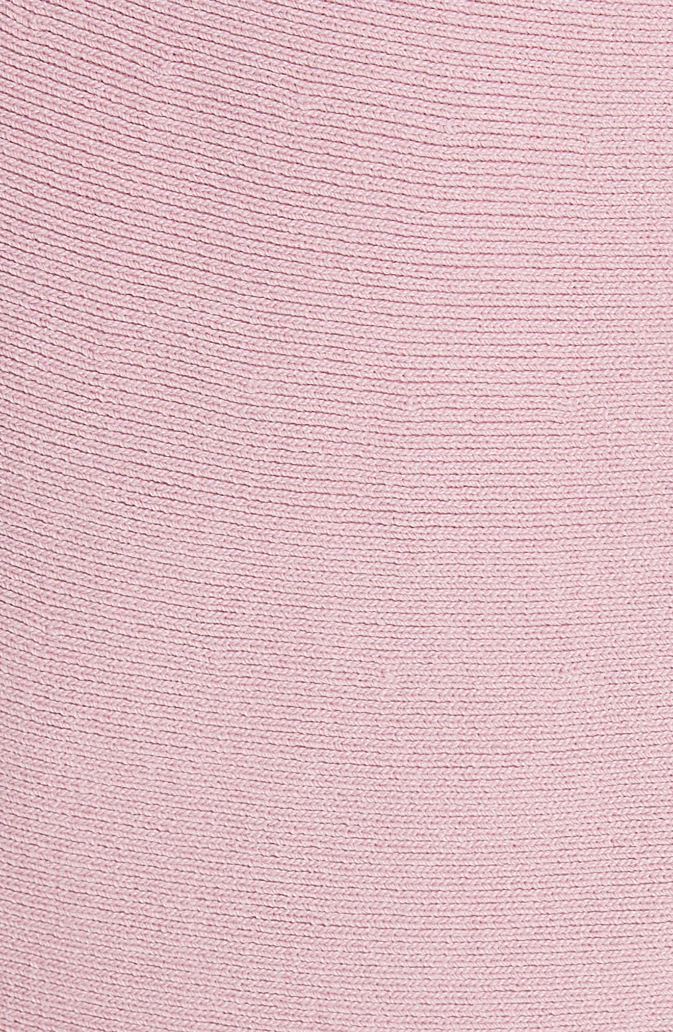 Bow Detail Knit Fit & Flare Dress,                             Alternate thumbnail 5, color,                             Dusky Pink
