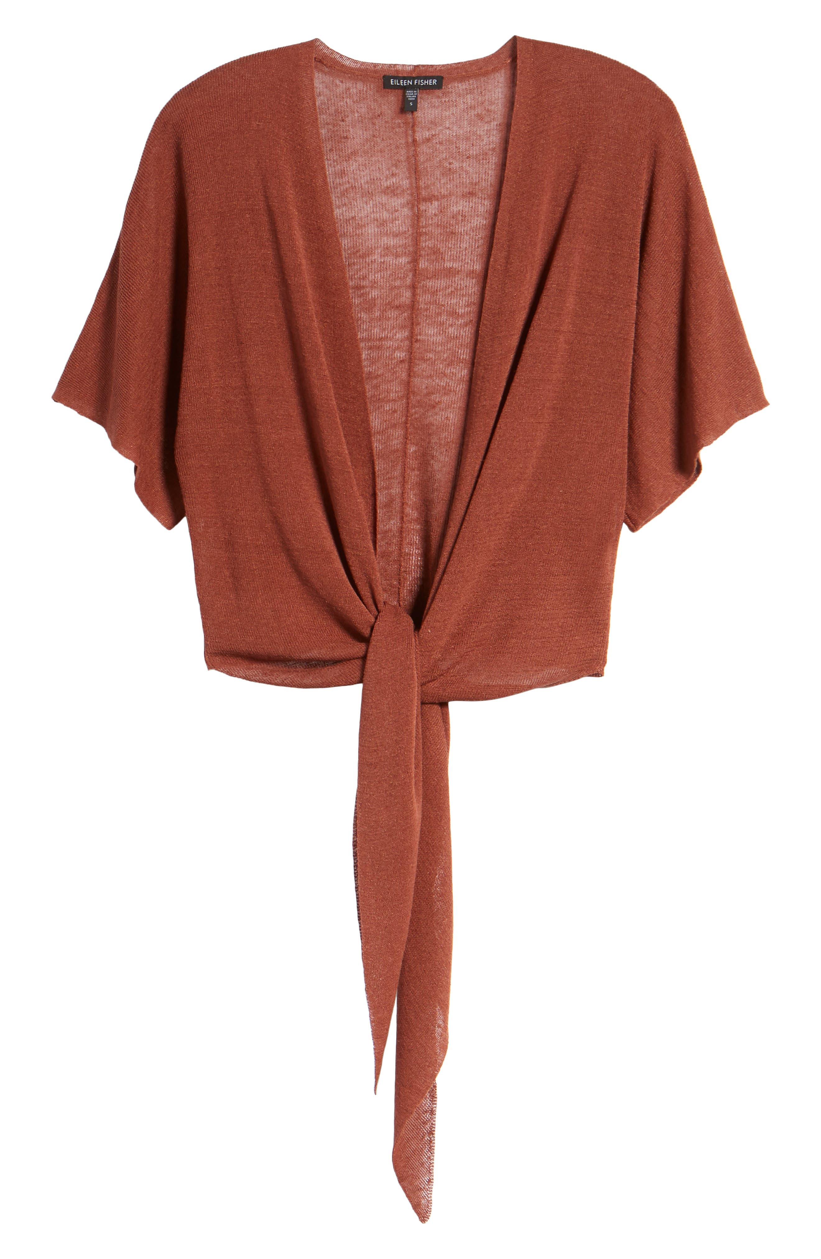 Tie Front Organic Linen Blend Cardigan,                             Alternate thumbnail 7, color,                             Russet