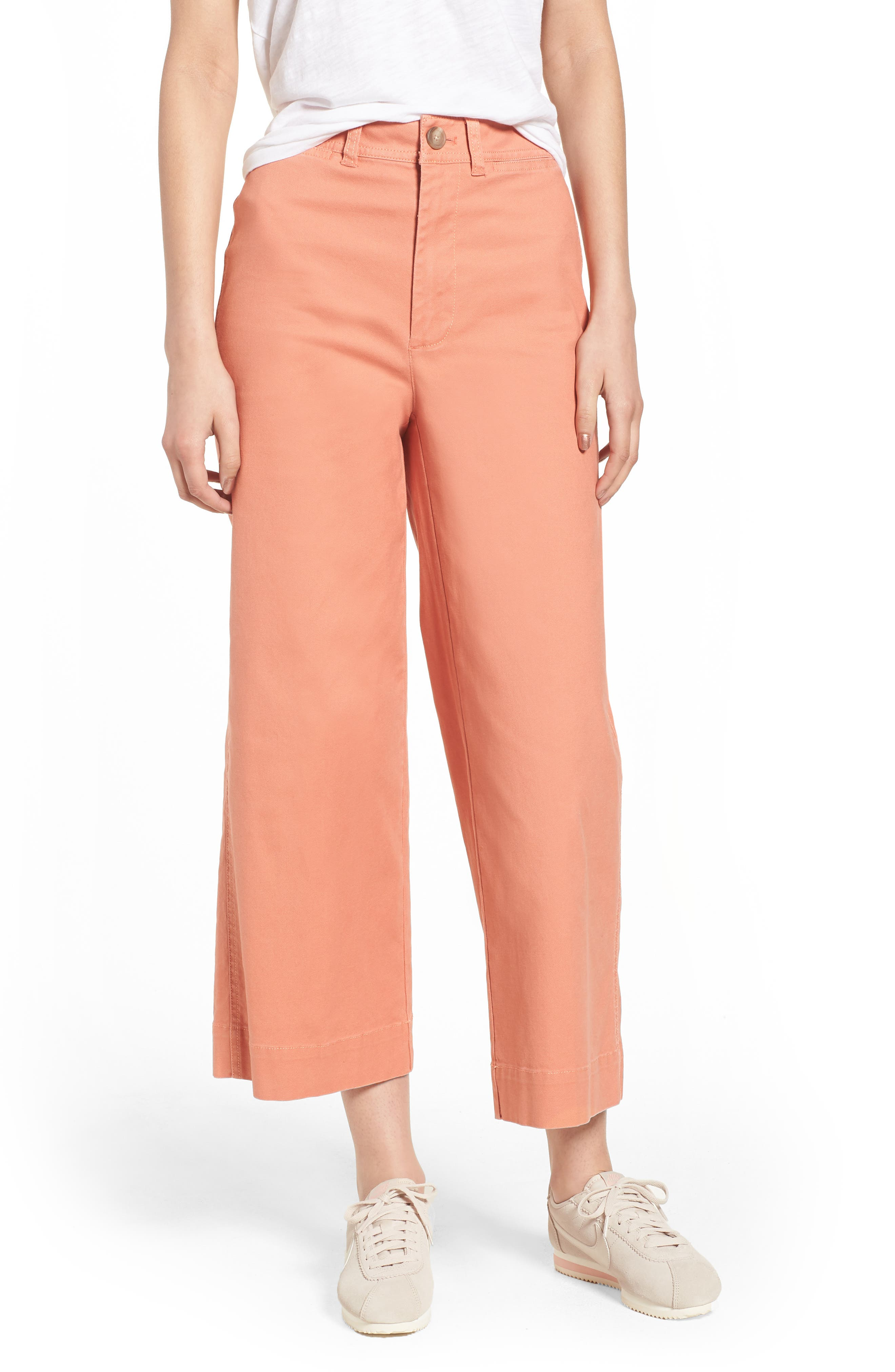 Emmett Crop Wide Leg Pants,                         Main,                         color, Dried Coral