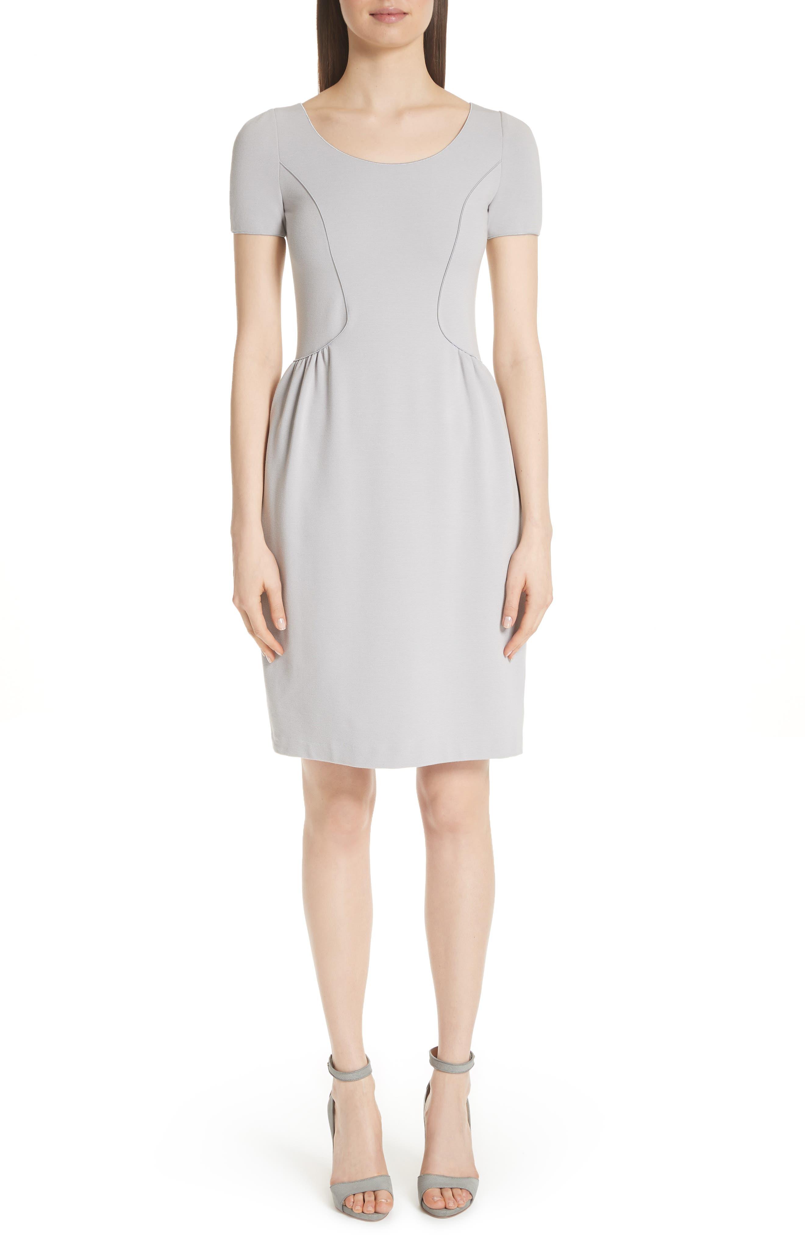 Seamed Ribbed Dress,                             Main thumbnail 1, color,                             Pearl Grey