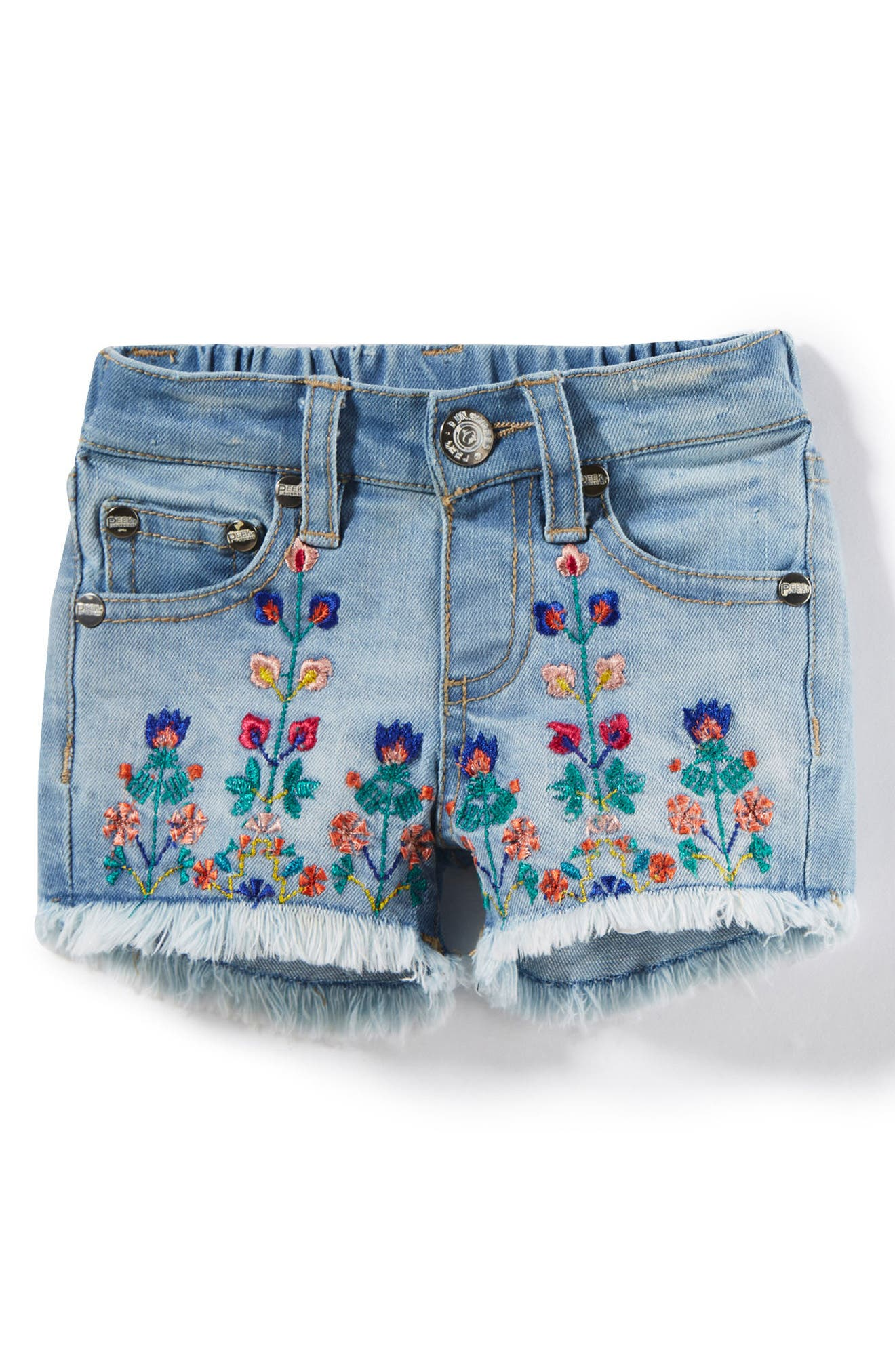 Griffin Embroidered Cuff Denim Shorts,                         Main,                         color, Bleach