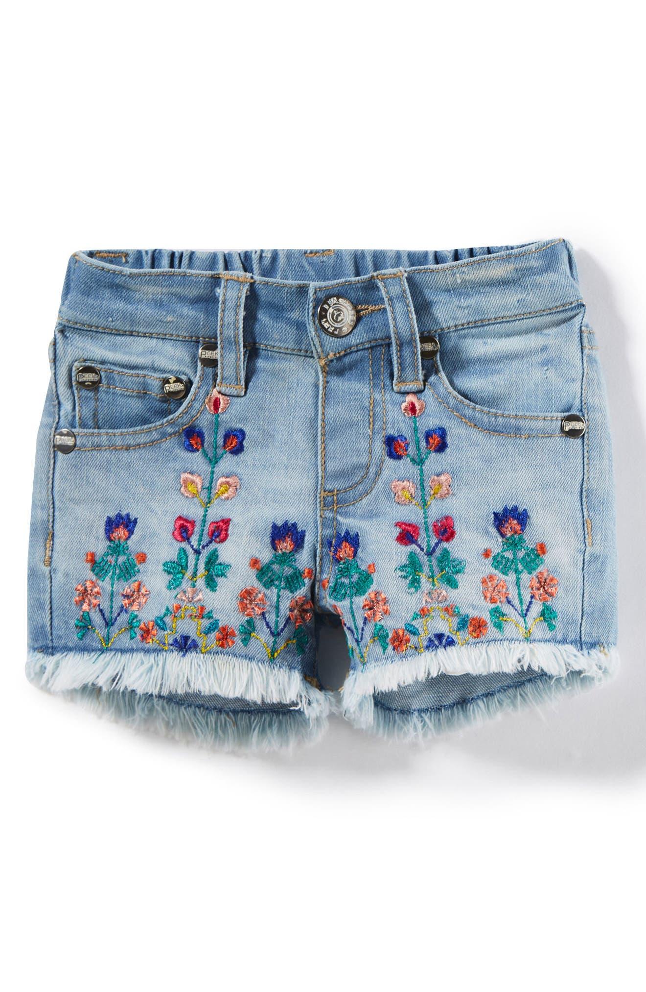 Peek Griffin Embroidered Cuff Denim Shorts (Baby Girls)