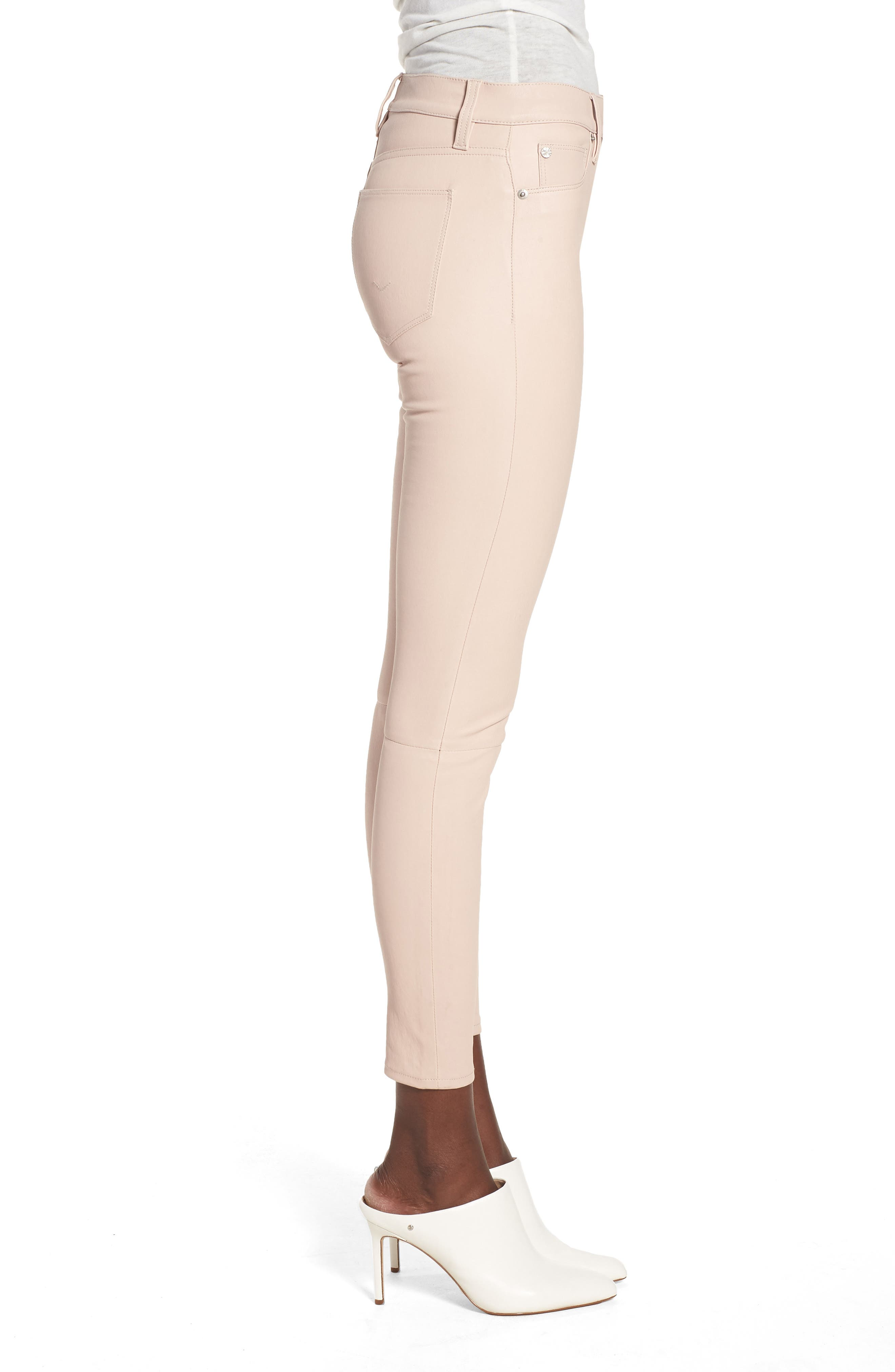 Barbara High Waist Ankle Skinny Leather Jeans,                             Alternate thumbnail 3, color,                             Blushing