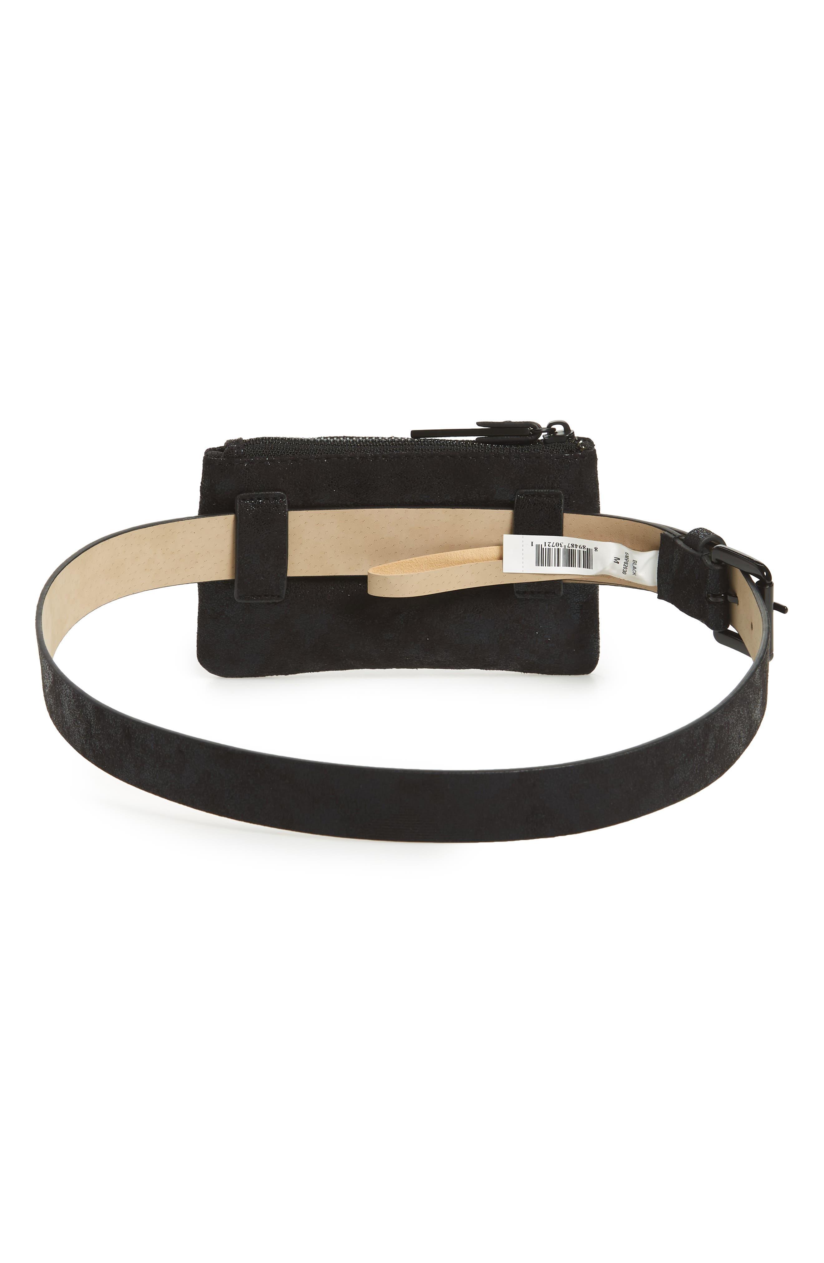 Studded Faux Leather Belt Bag,                             Alternate thumbnail 4, color,                             Black