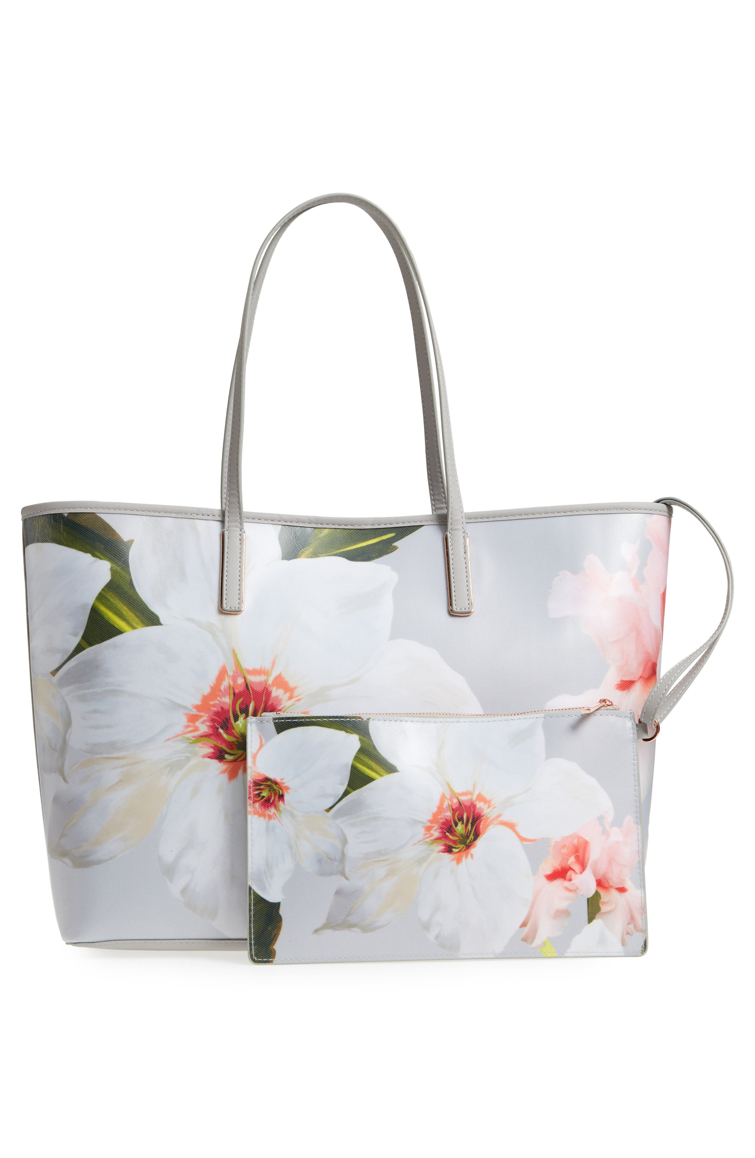 Cecie Chatsworth Bloom Canvas Tote,                             Alternate thumbnail 3, color,                             Mid Grey