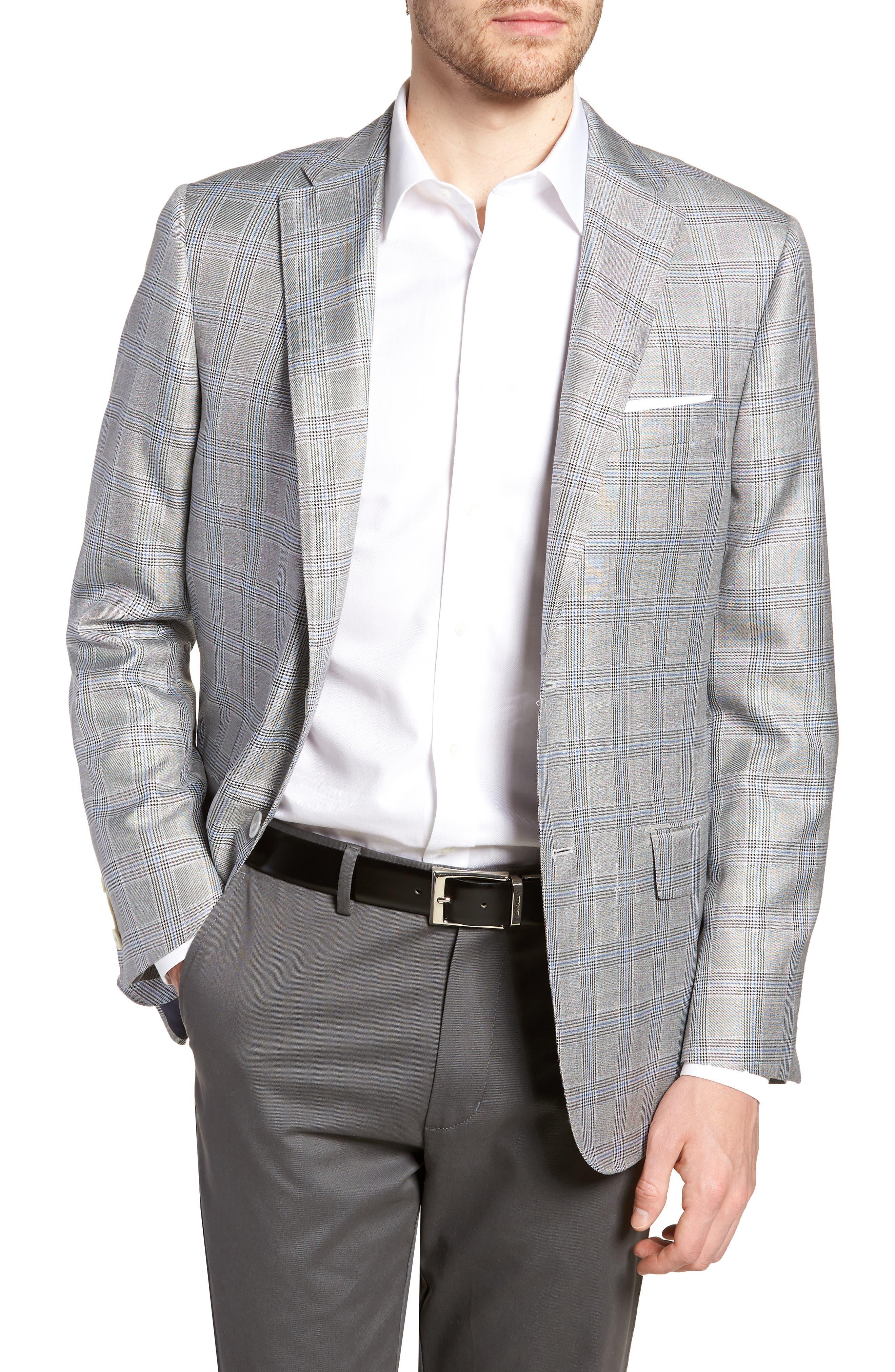 Classic B Fit Plaid Silk & Wool Sport Coat,                         Main,                         color, Black/ White Plaid