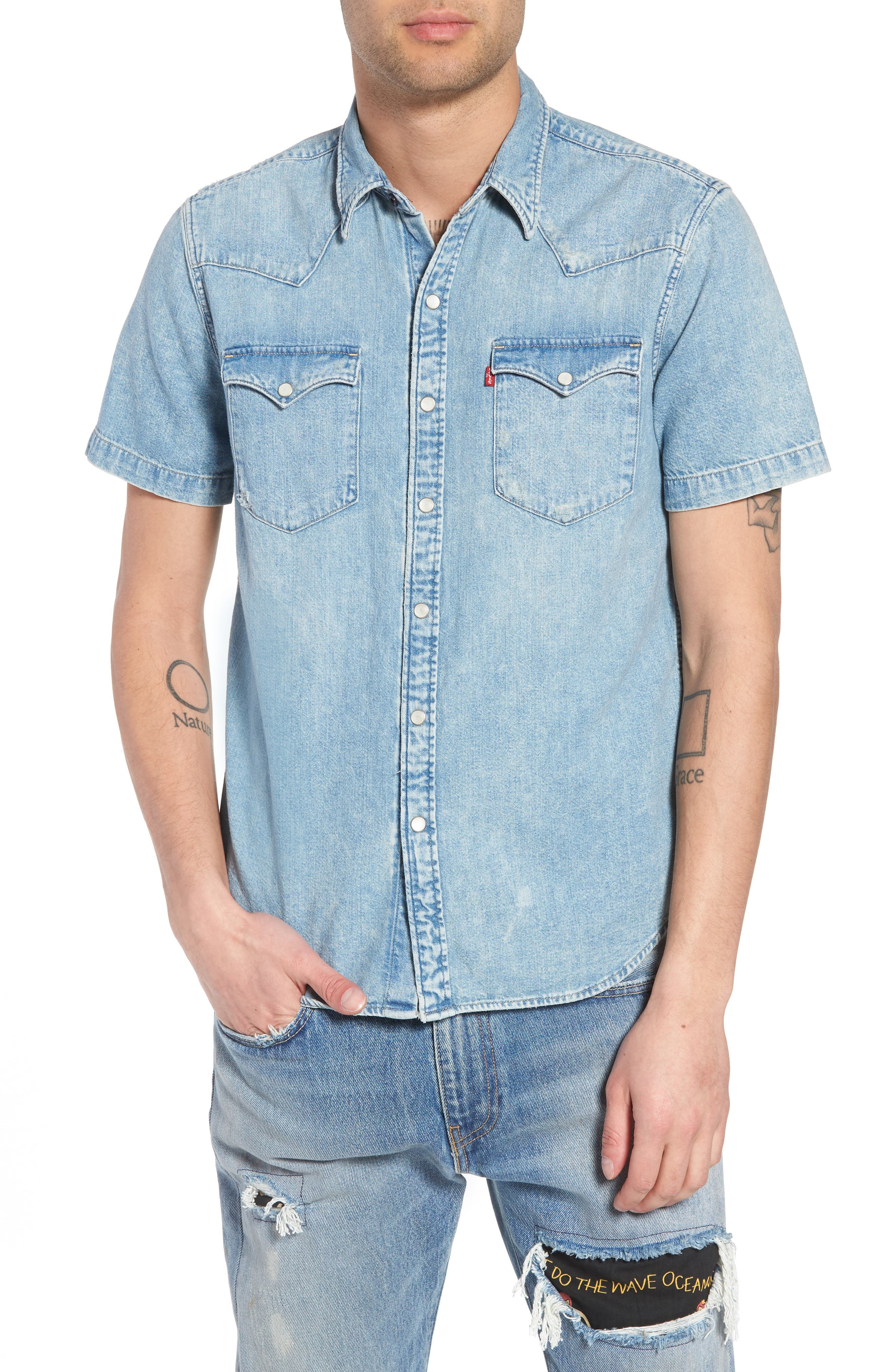 Barstow Western Shirt,                             Main thumbnail 1, color,                             Light Weight Marbled Denim