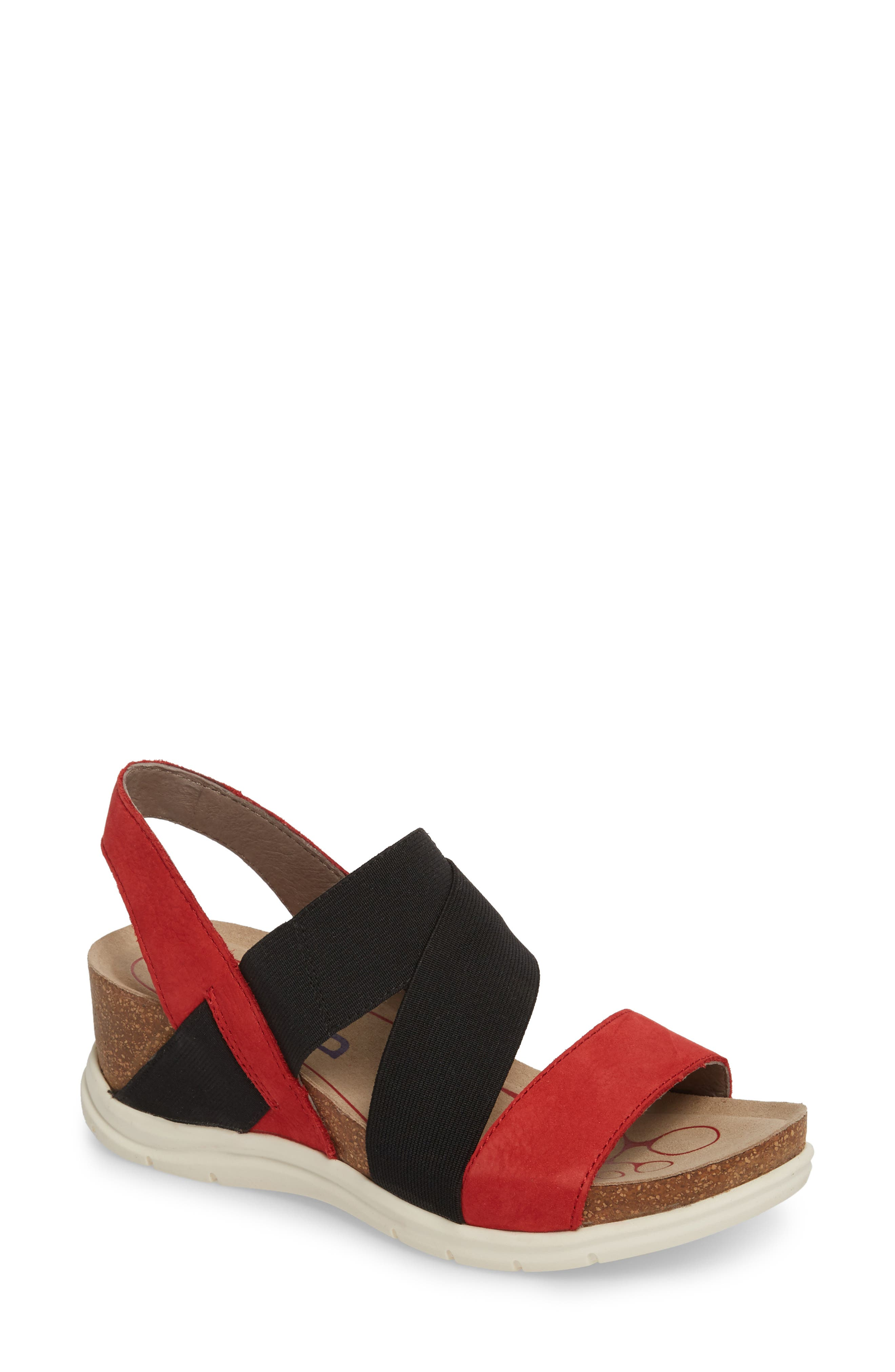 Paisley Wedge Sandal,                             Main thumbnail 1, color,                             Coral Leather
