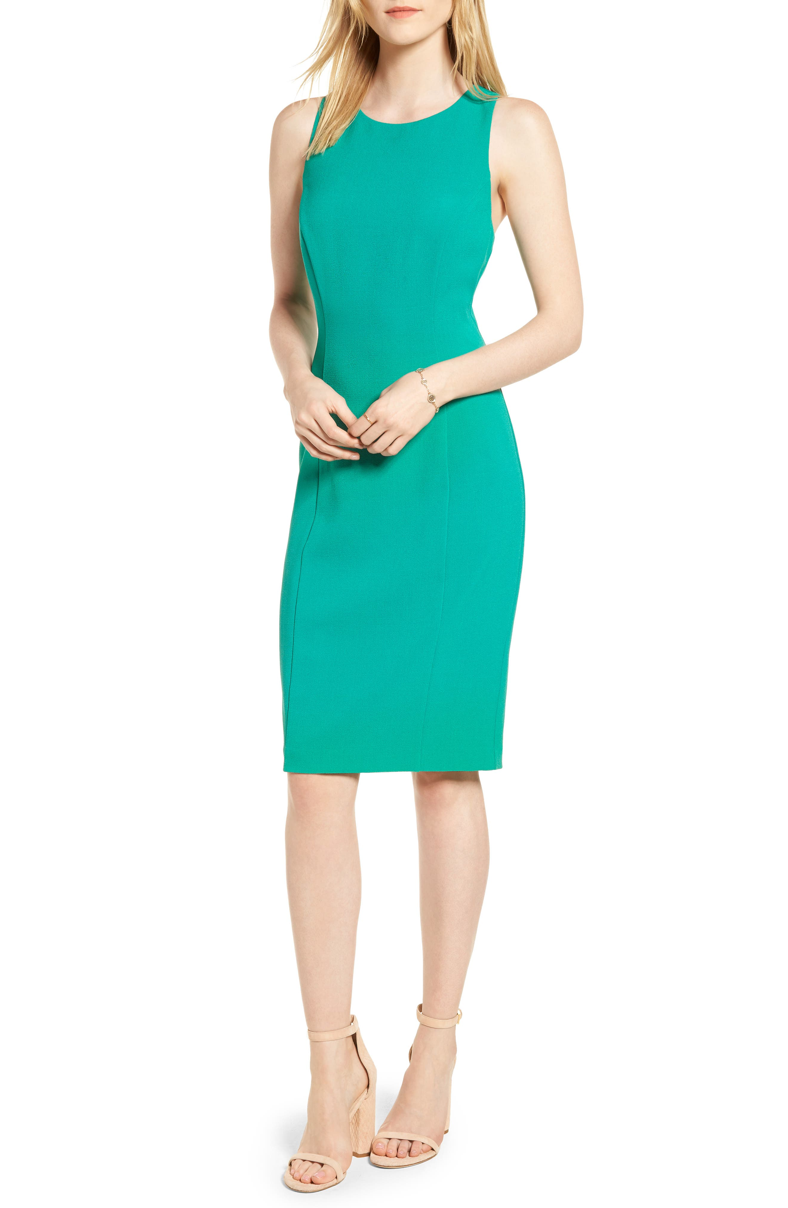 Bow Back Sheath Dress,                             Main thumbnail 1, color,                             Green Parakeet