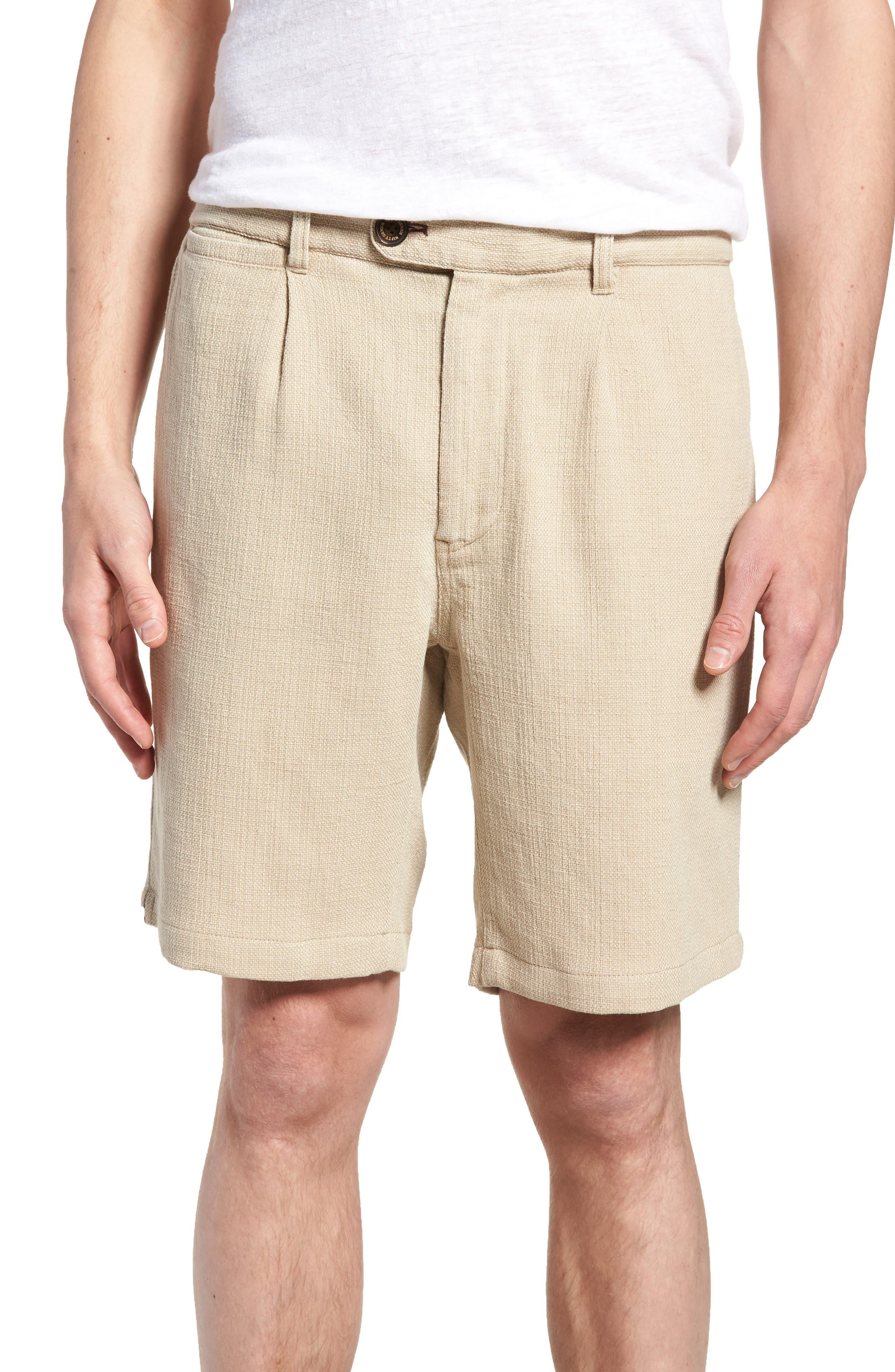 Thomas Regular Fit Pleated Shorts,                             Main thumbnail 1, color,                             Tan