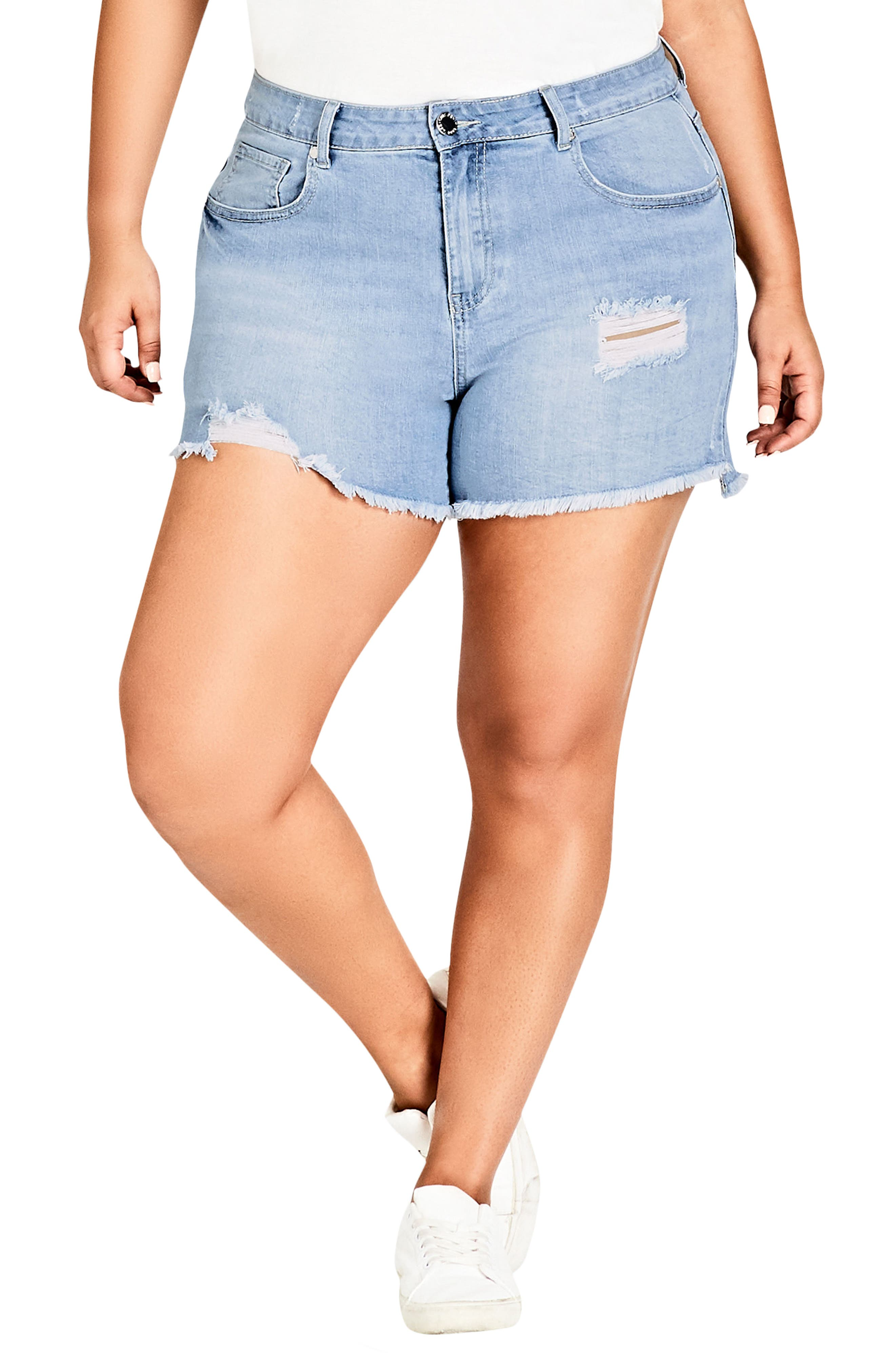 Sweet Cut Out Denim Shorts,                         Main,                         color, Light Denim
