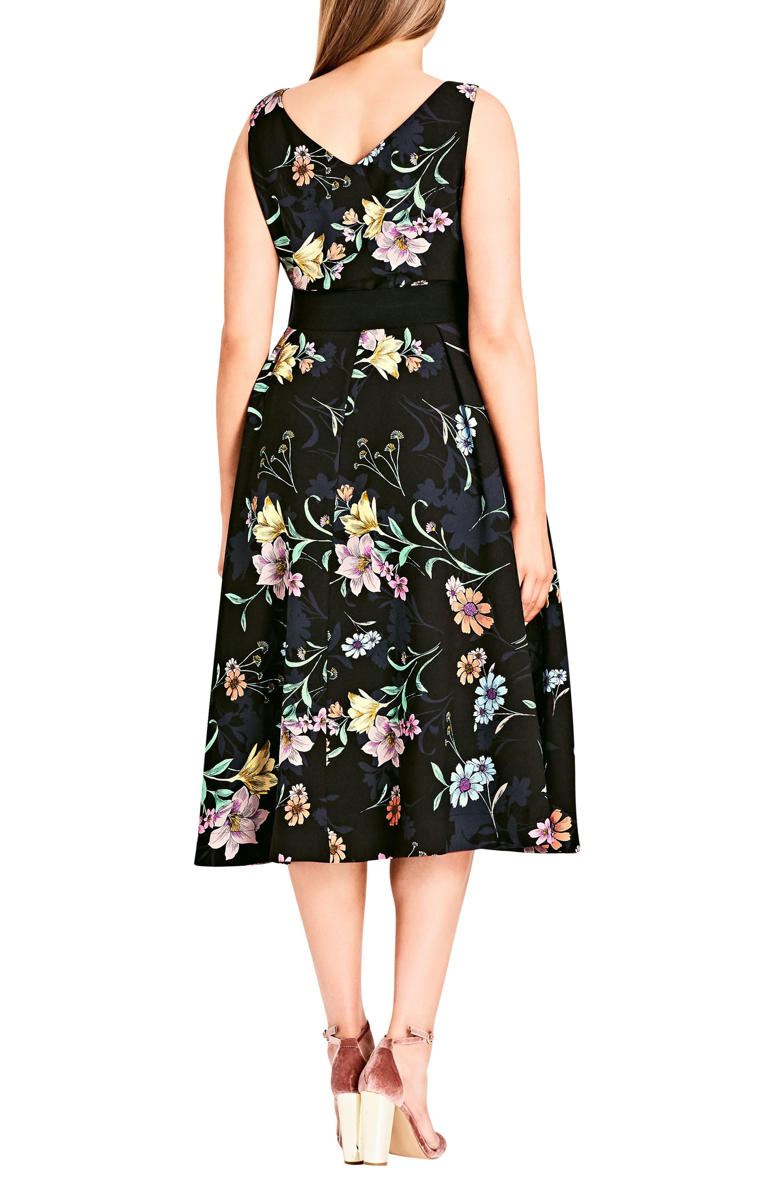 Sketch Love Floral A-Line Midi Dress,                             Alternate thumbnail 2, color,                             Black
