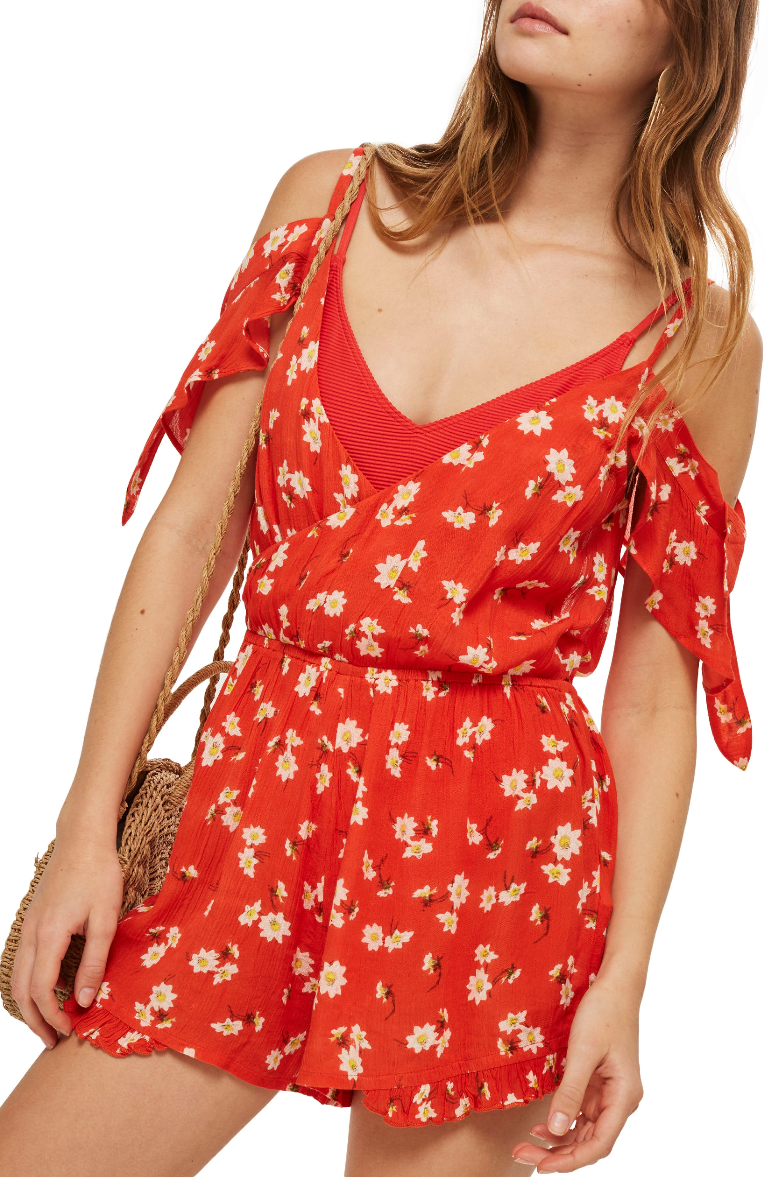Daisy Floral Print Jumpsuit,                         Main,                         color, Red Multi