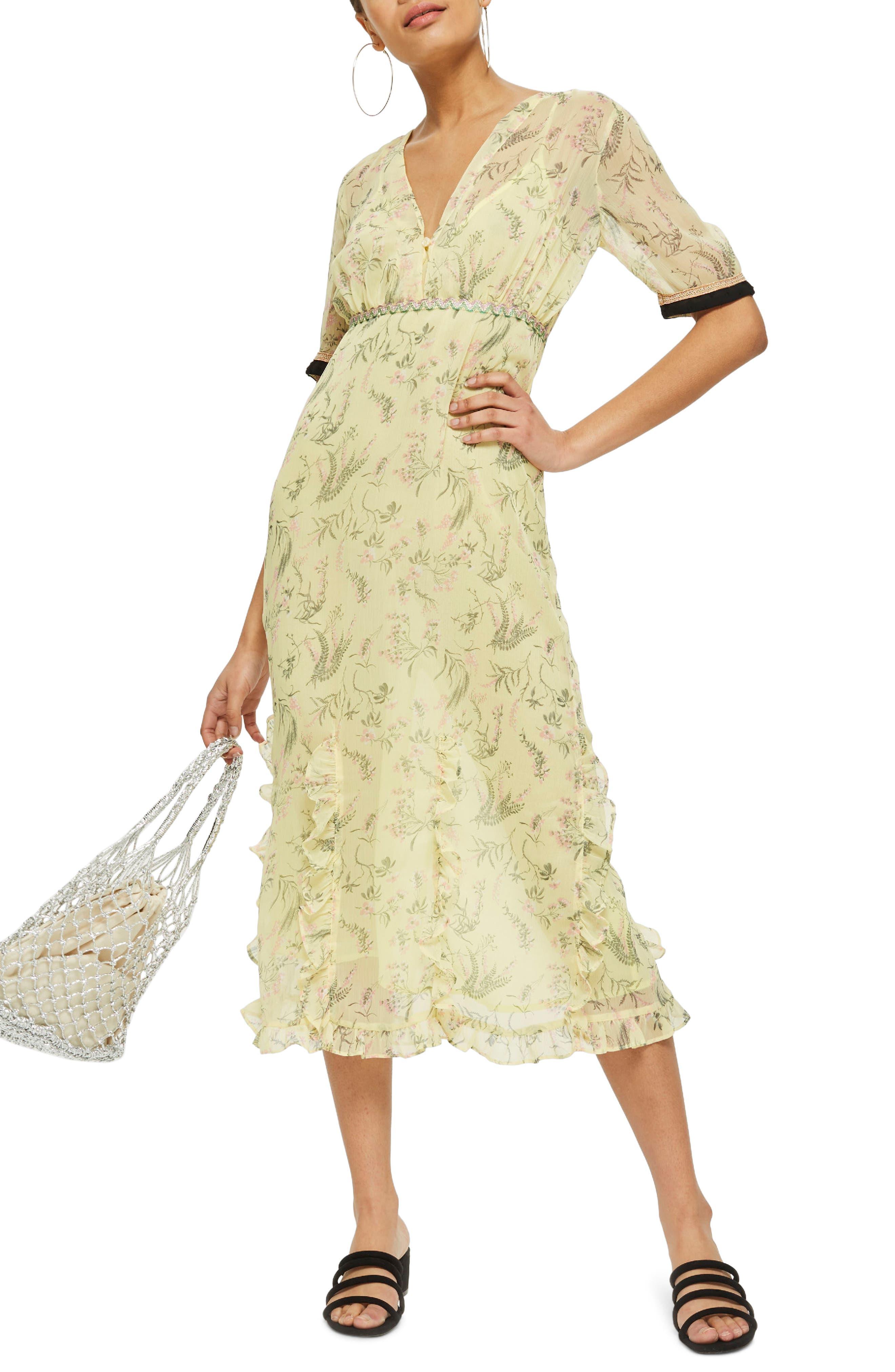 Rodeo Print Frill Midi Dress,                             Main thumbnail 1, color,                             Yellow Multi