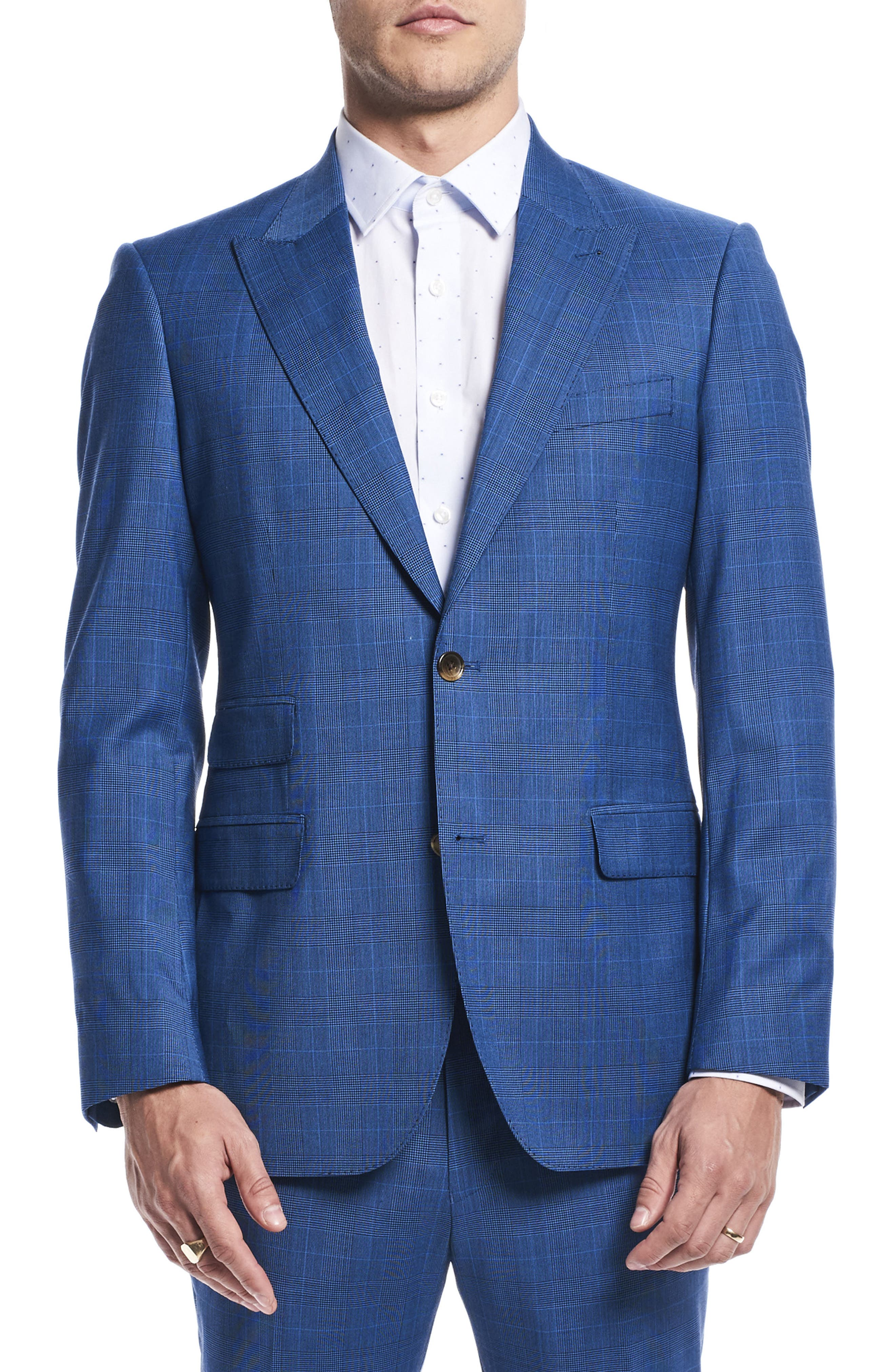 by Ilaria Urbinati Zooey Slim Fit Plaid Wool Suit,                             Alternate thumbnail 3, color,                             French Blue Glen Plaid