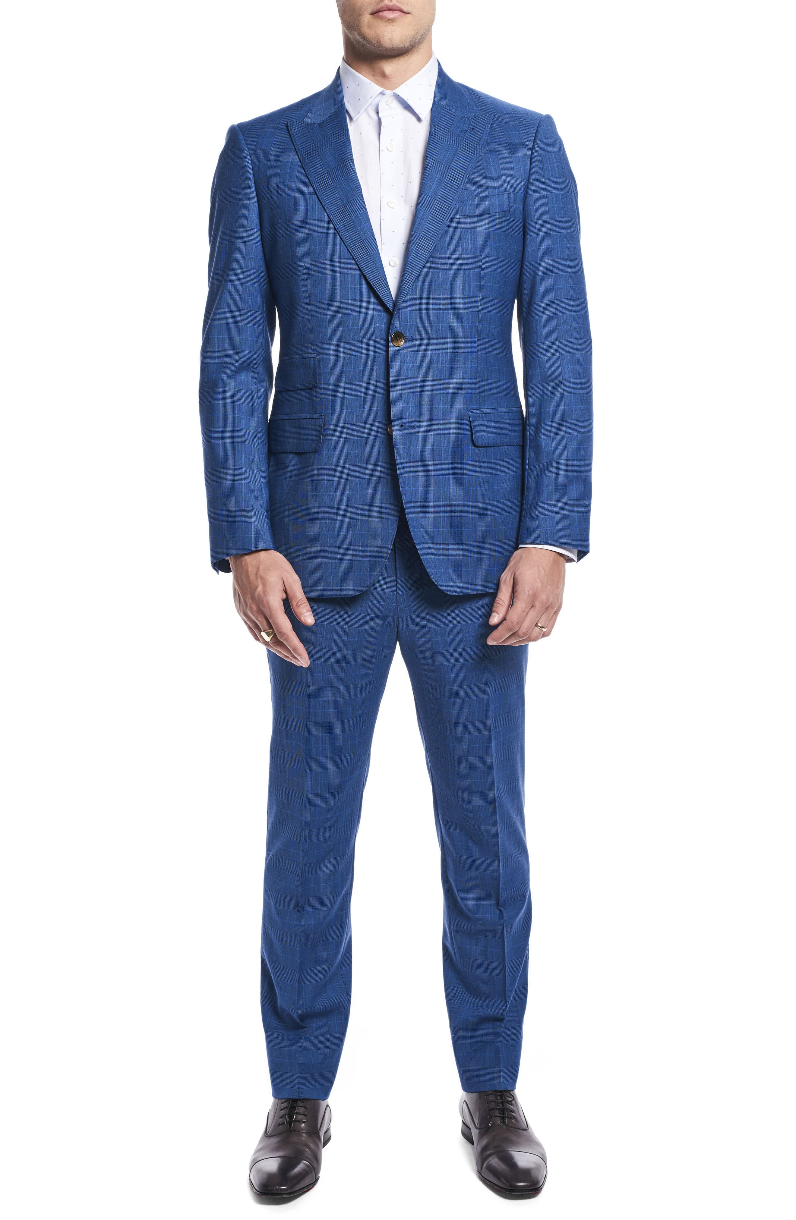 by Ilaria Urbinati Zooey Slim Fit Plaid Wool Suit,                         Main,                         color, French Blue Glen Plaid