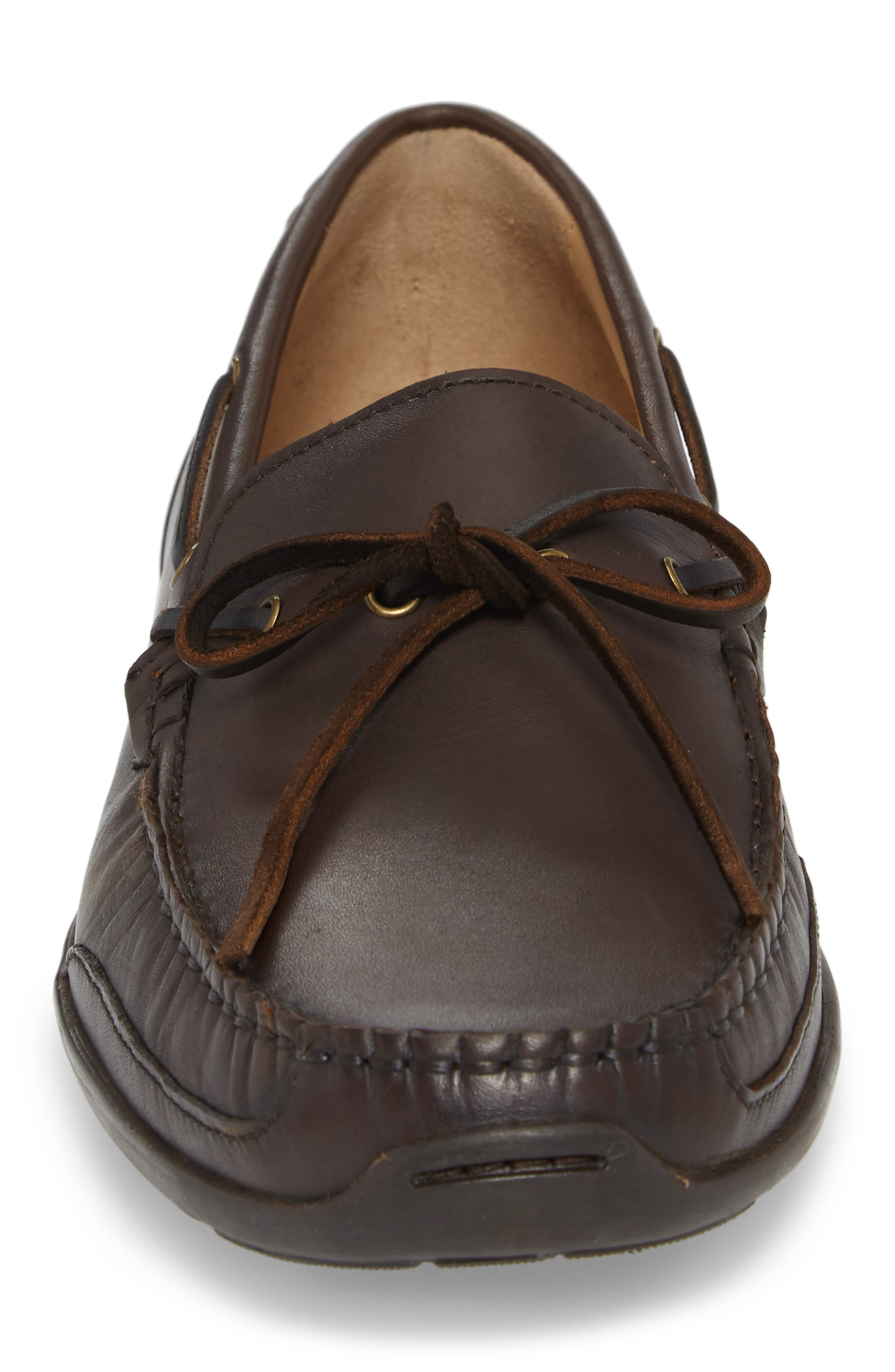 Tangier Driving Shoe,                             Alternate thumbnail 4, color,                             Medium Brown Leather