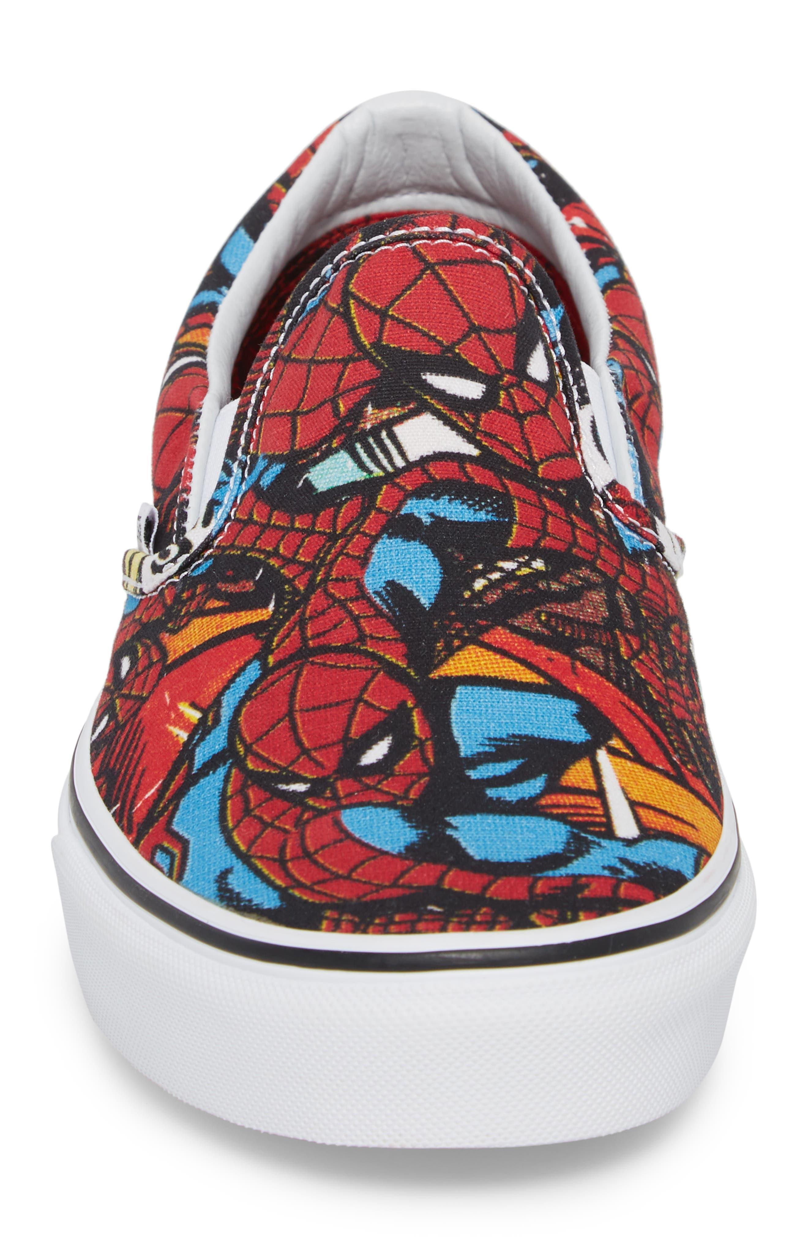 Marvel UA Classic Slip-On Sneaker,                             Alternate thumbnail 4, color,                             Black/ Red Textile