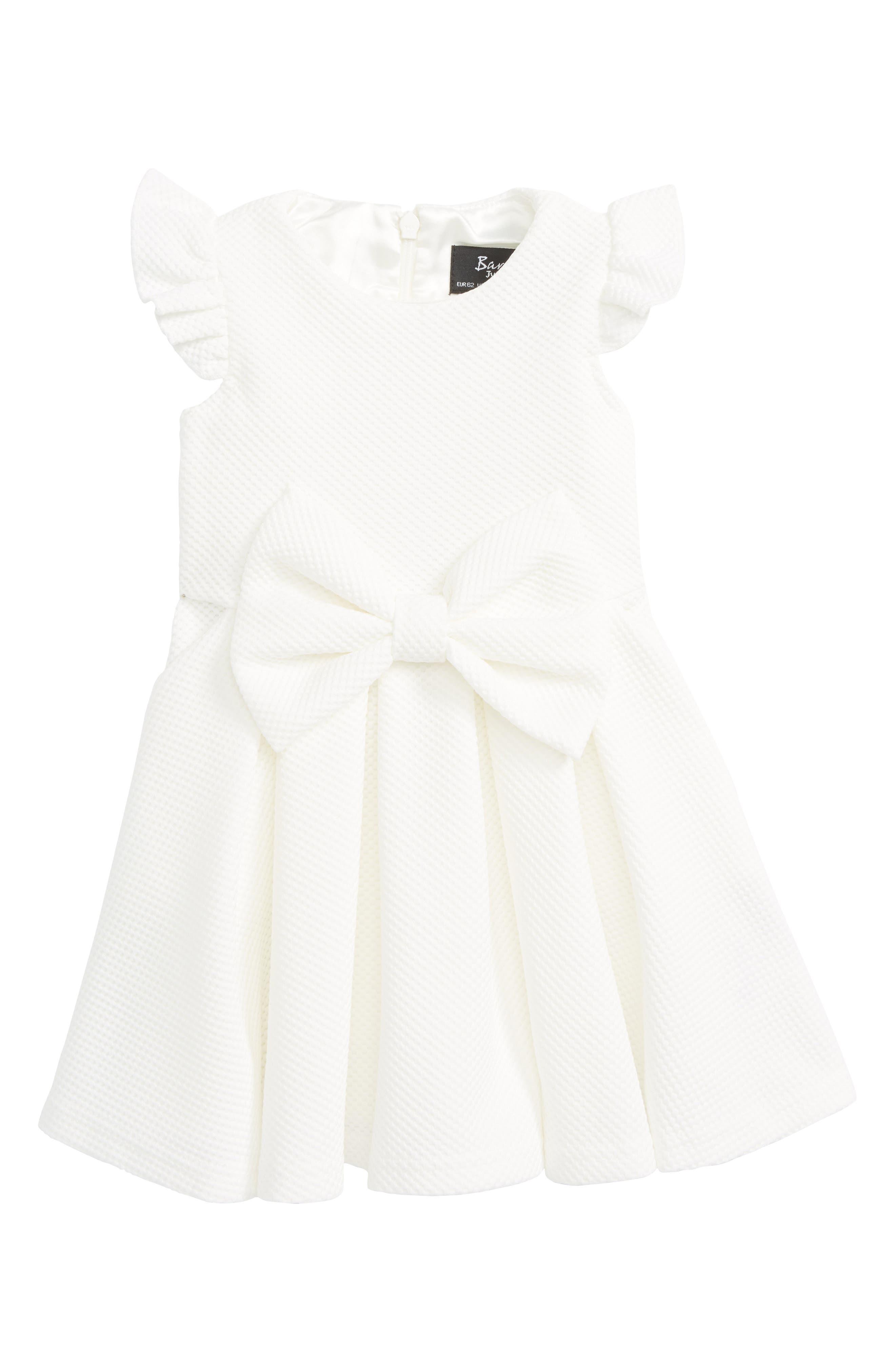 Waffle Knit Bow Dress,                         Main,                         color, Ivory