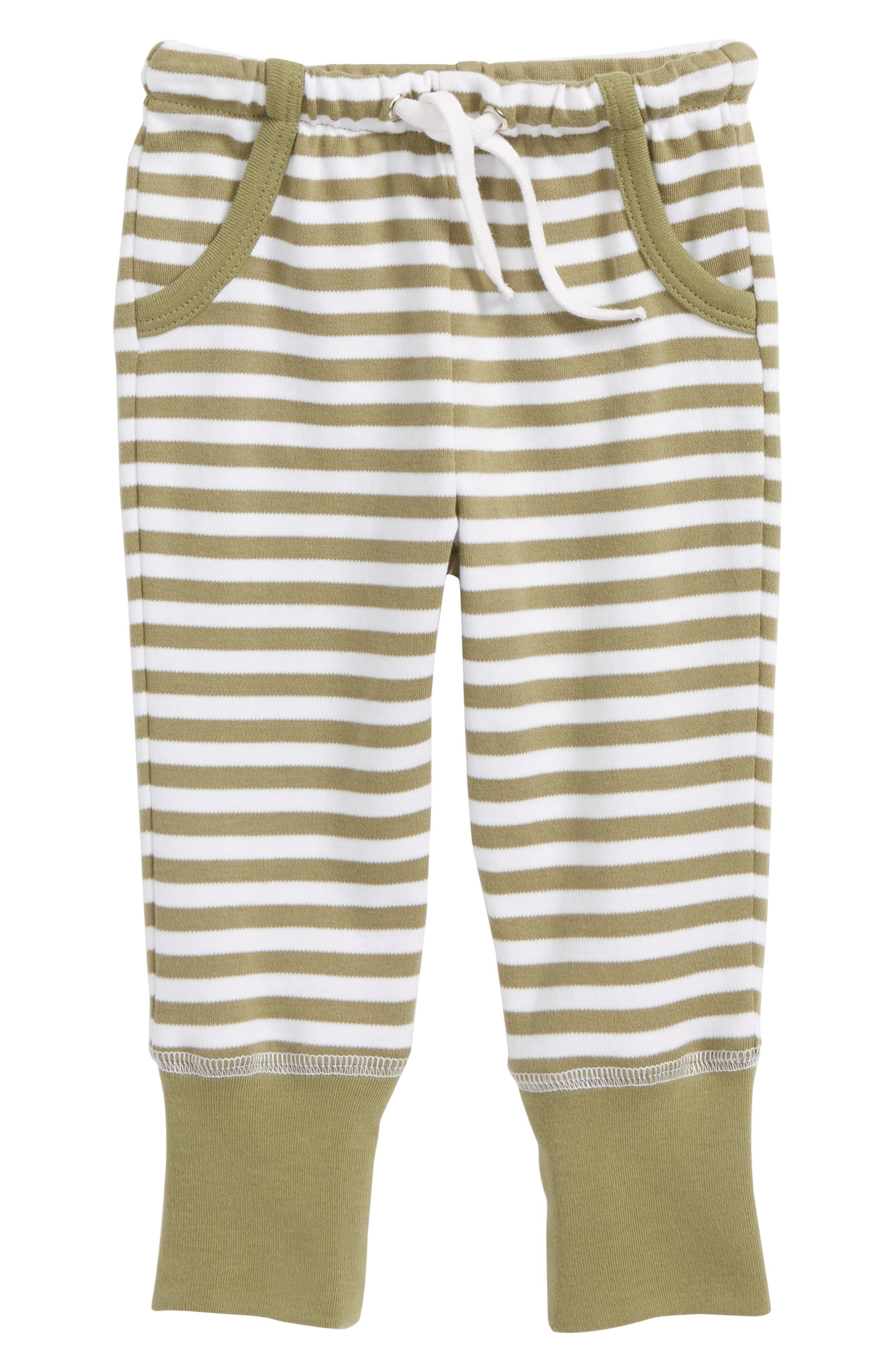 Stripe Organic Cotton Jogger Pants,                             Main thumbnail 1, color,                             Sage/ White