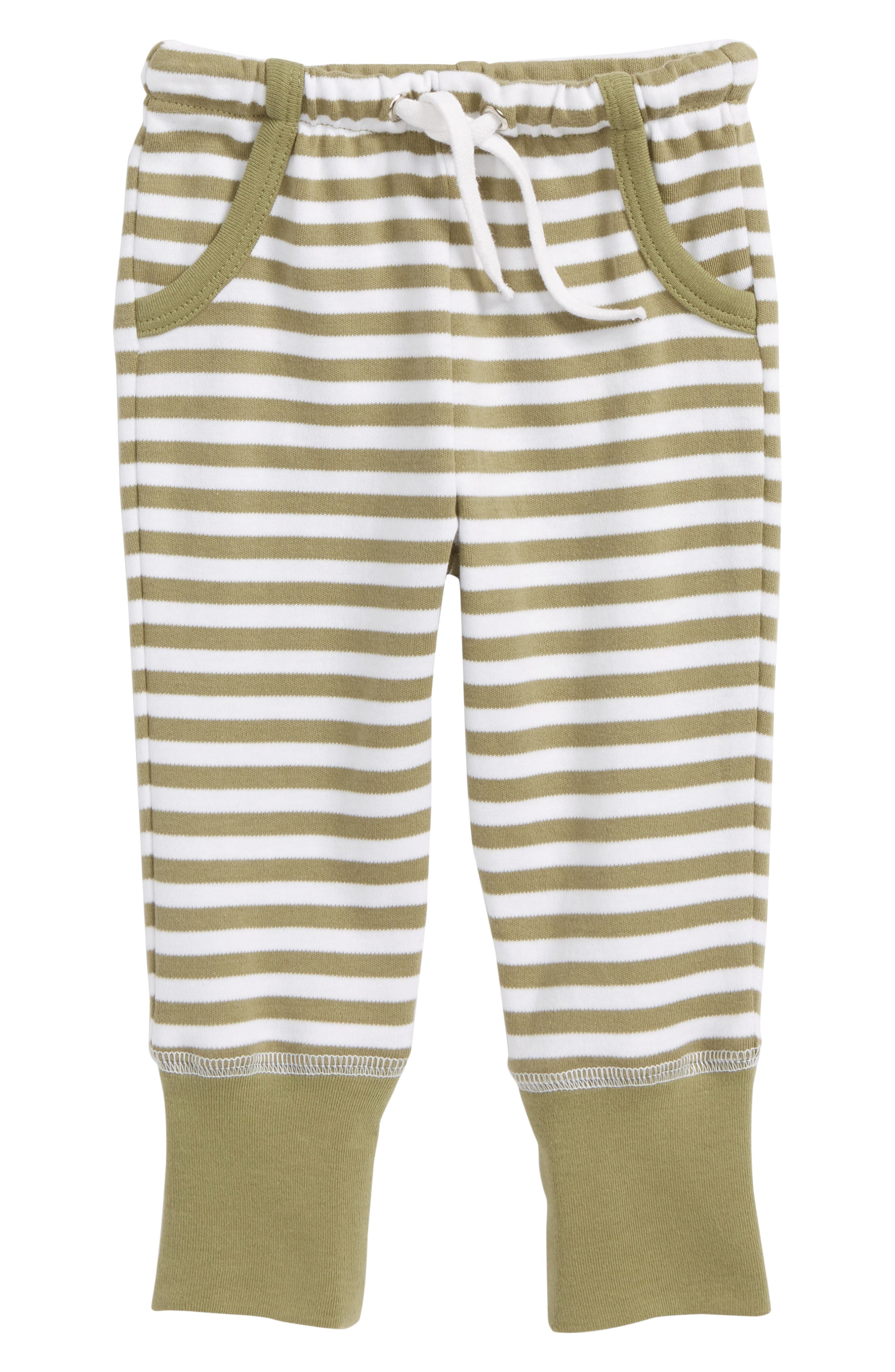 Stripe Organic Cotton Jogger Pants,                         Main,                         color, Sage/ White
