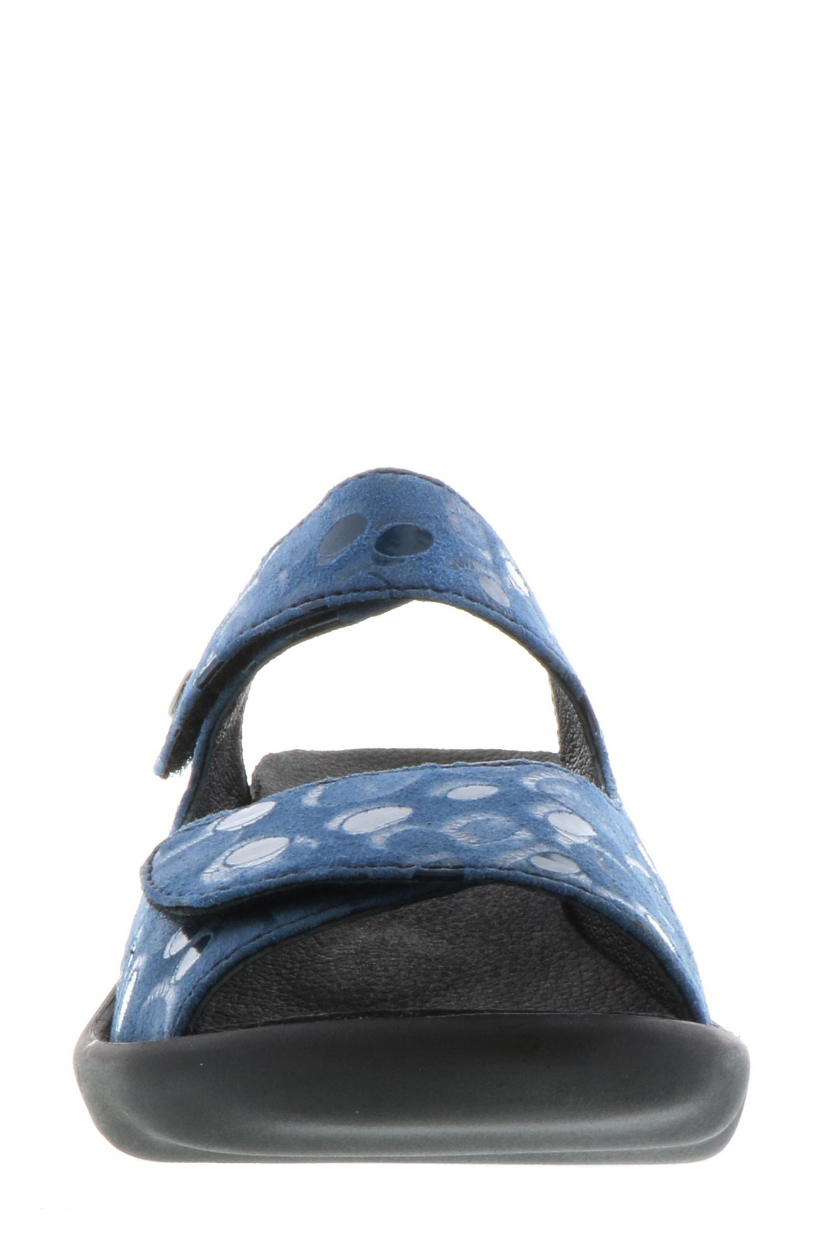 Bolena Slide Sandal,                             Alternate thumbnail 4, color,                             Blue Circle Print