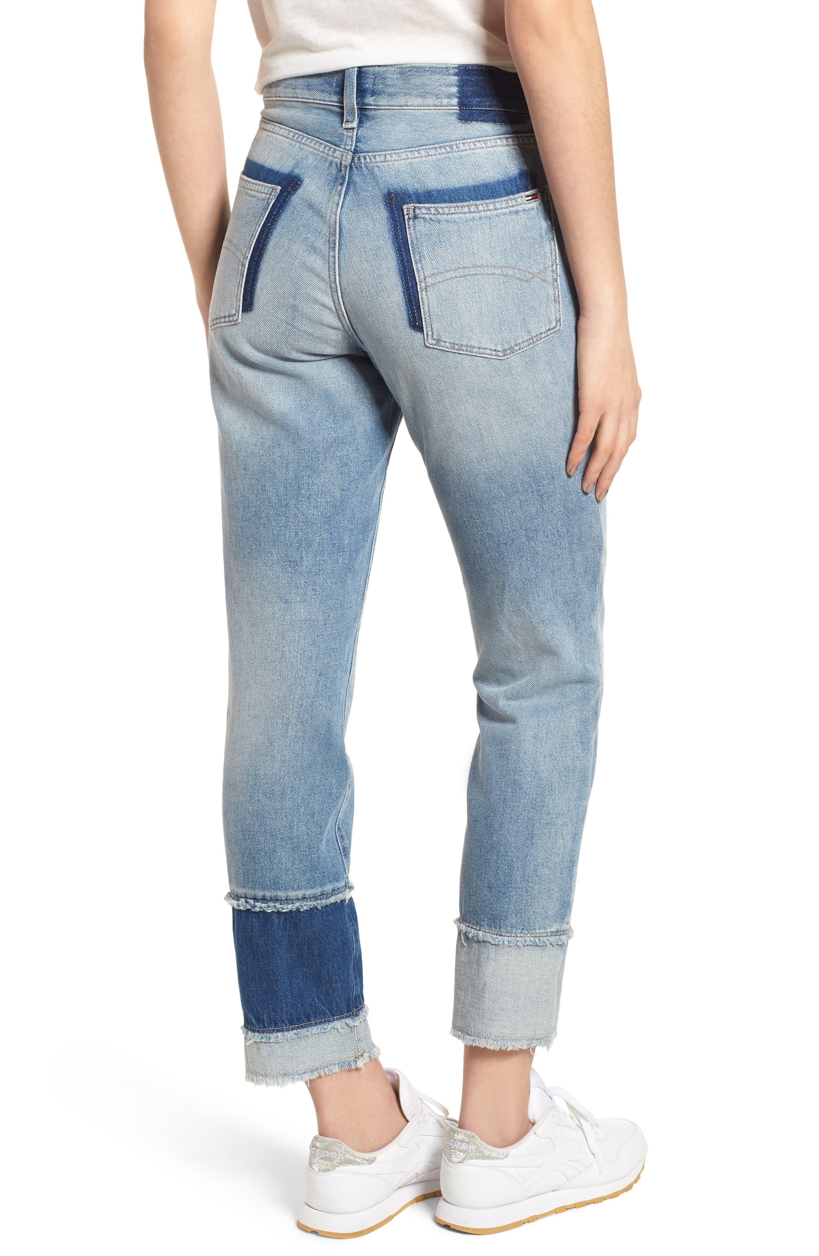 Izzy Layered Cuff Slim Leg Jeans,                             Alternate thumbnail 2, color,                             Raw Patch Light Blue Rigid