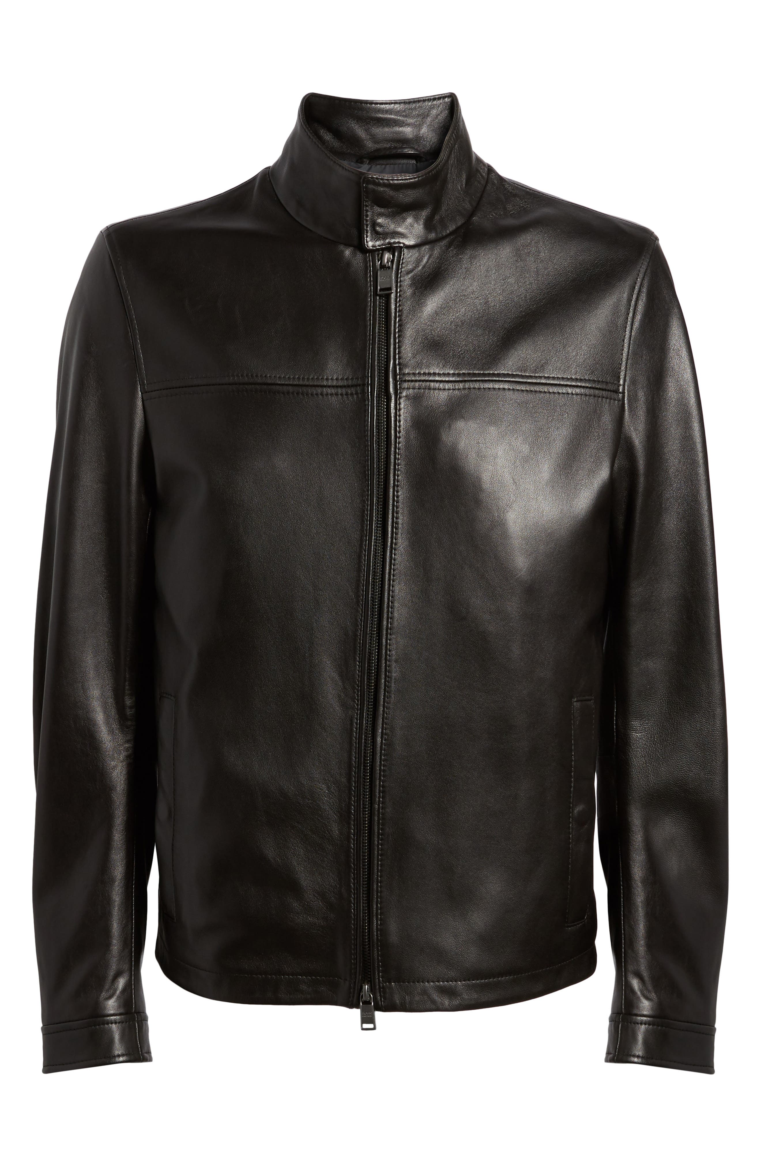 Nerous Leather jacket,                             Alternate thumbnail 6, color,                             Black