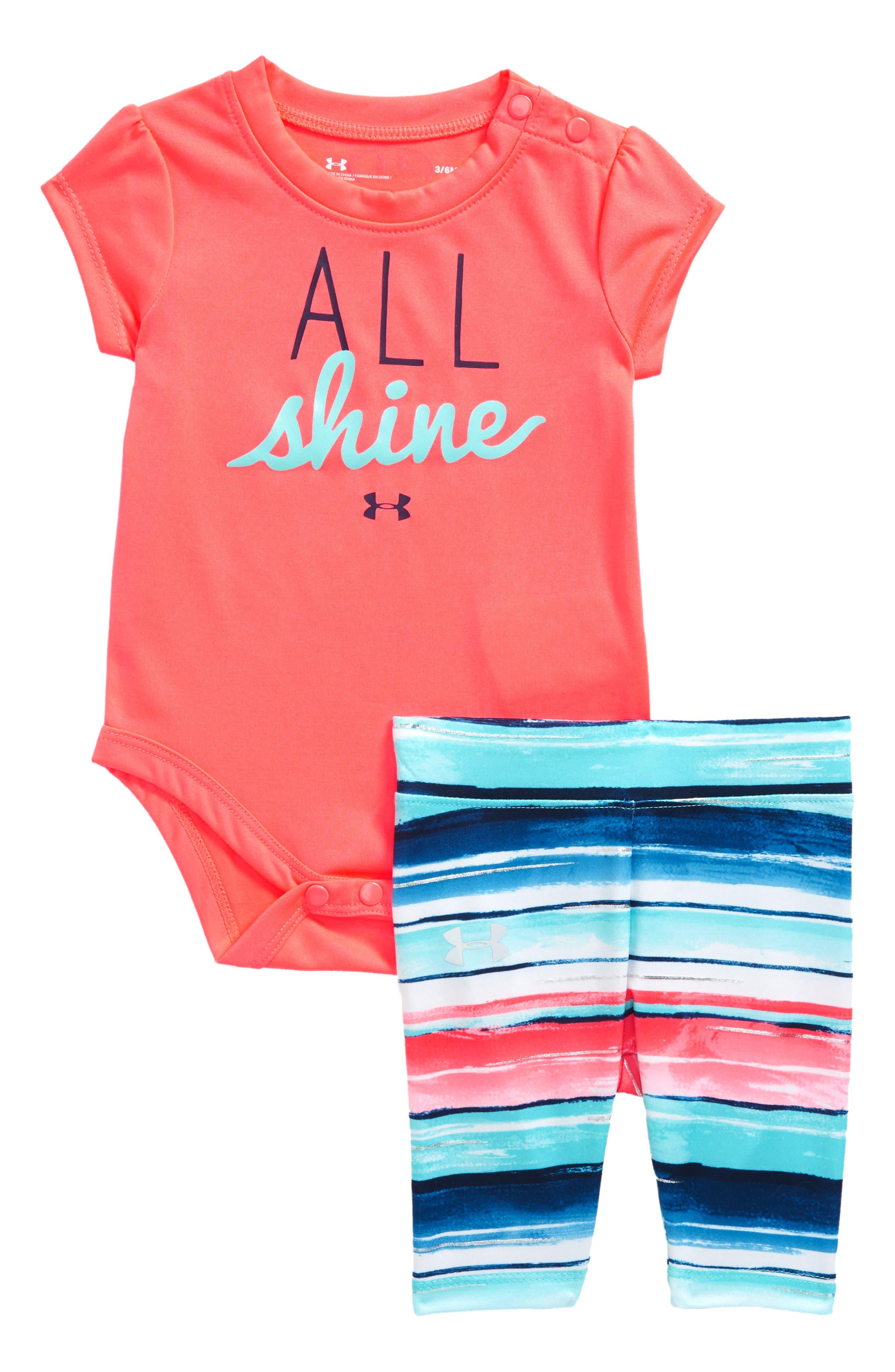 Alternate Image 1 Selected - Under Armour All Shine Bodysuit & Leggings Set (Baby Girls)